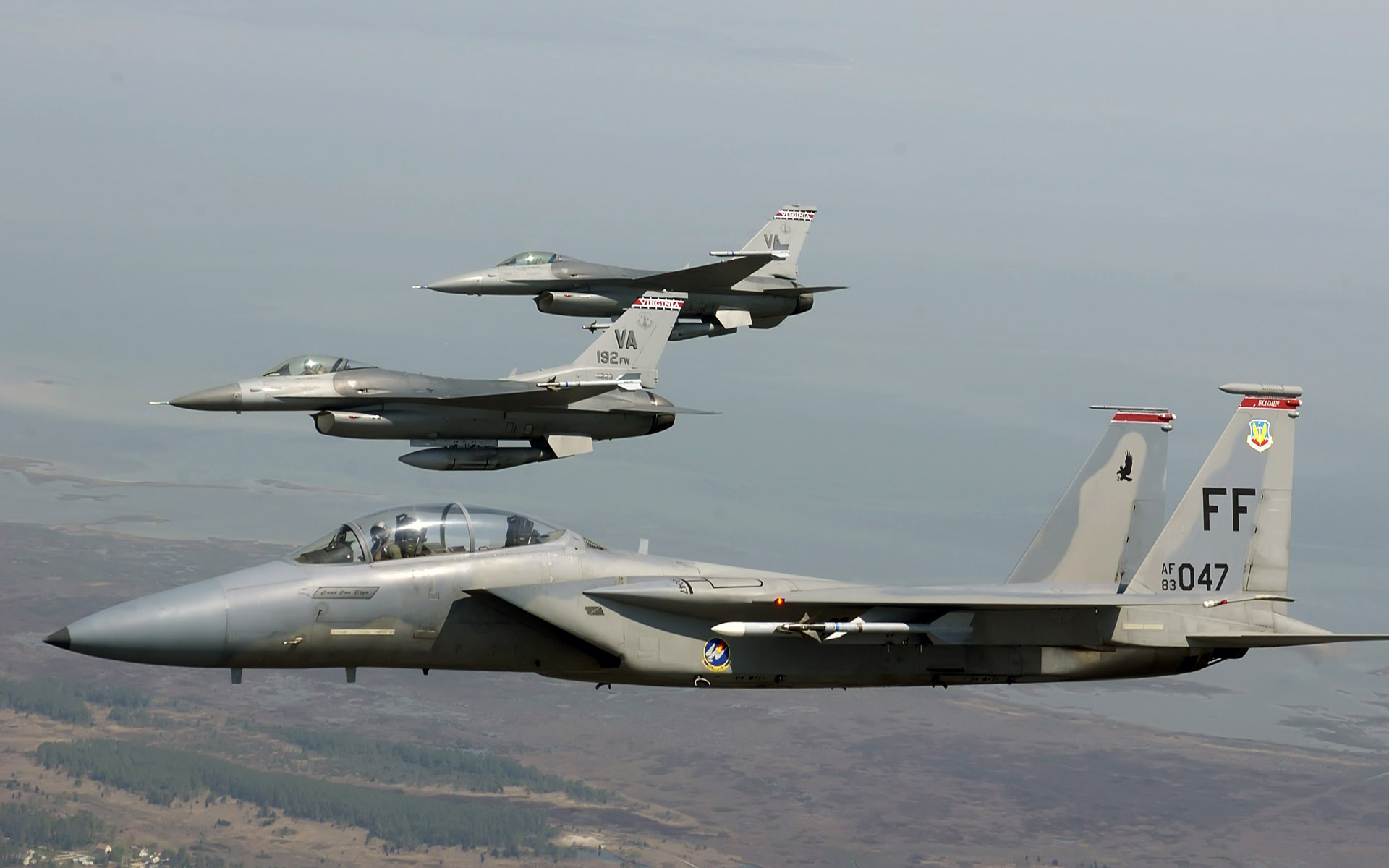 wallpaper f 15 eagle joined f 16 fighting falcons eagle, falcons