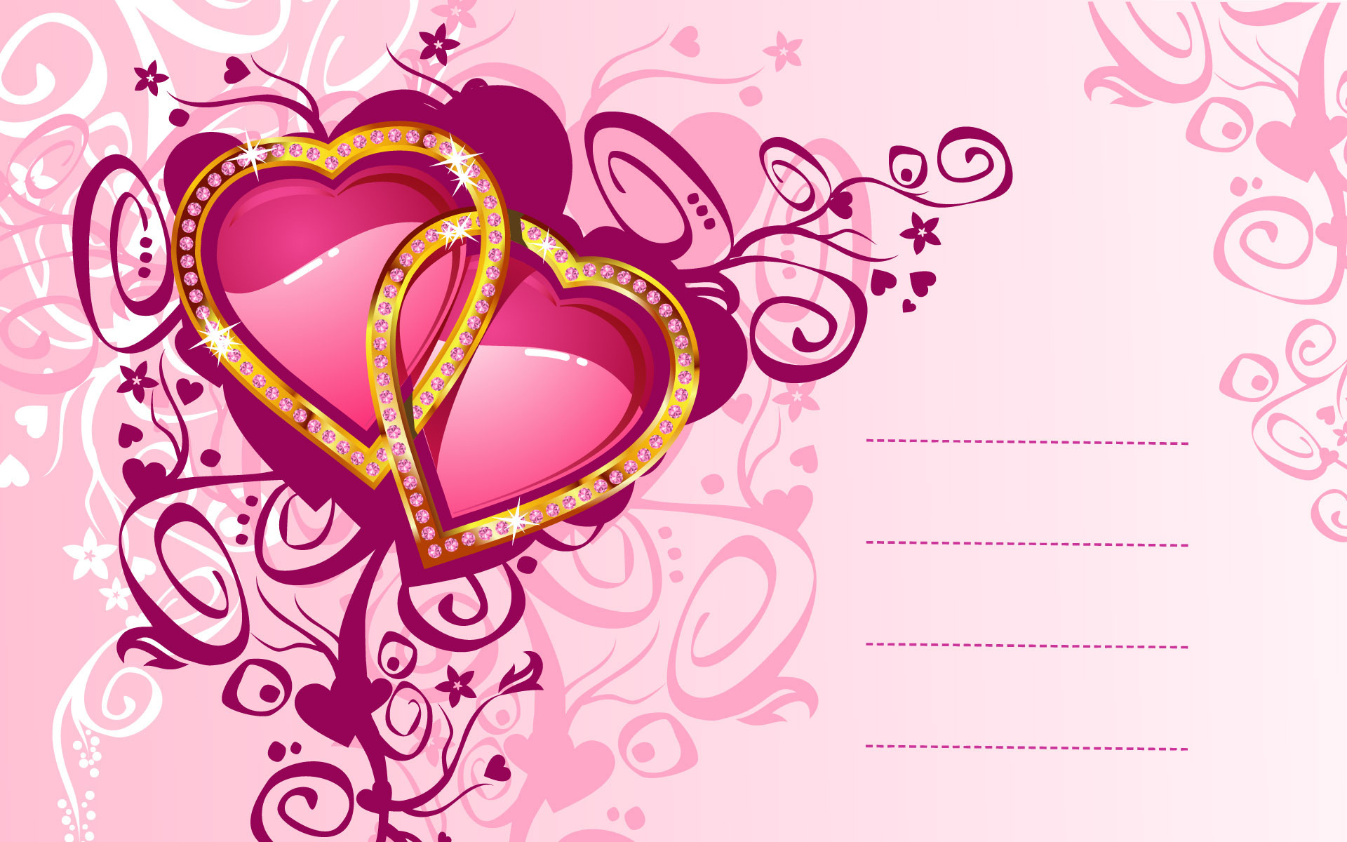 Wallpaper Love Card Widescreen Design