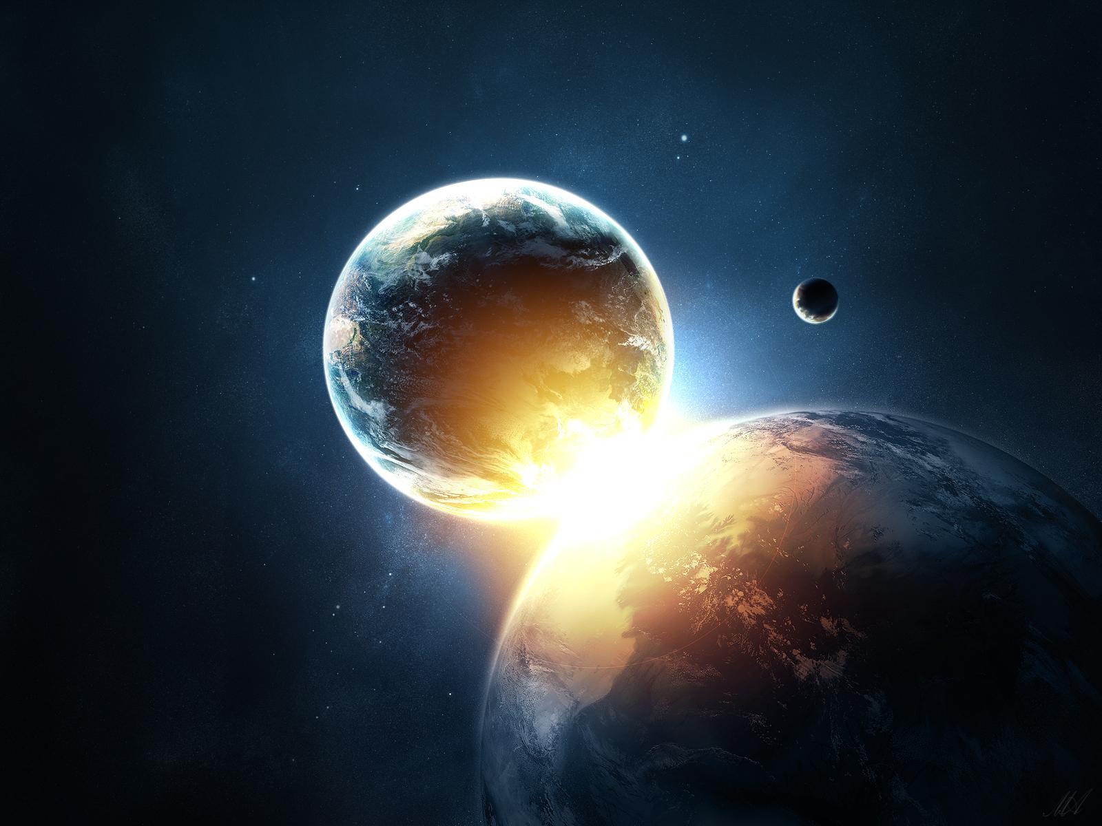 Wallpaper Planets Collide Universe