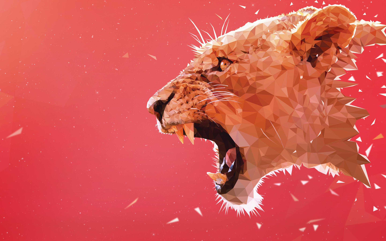 Wallpaper Roaring Lion 5K Transience