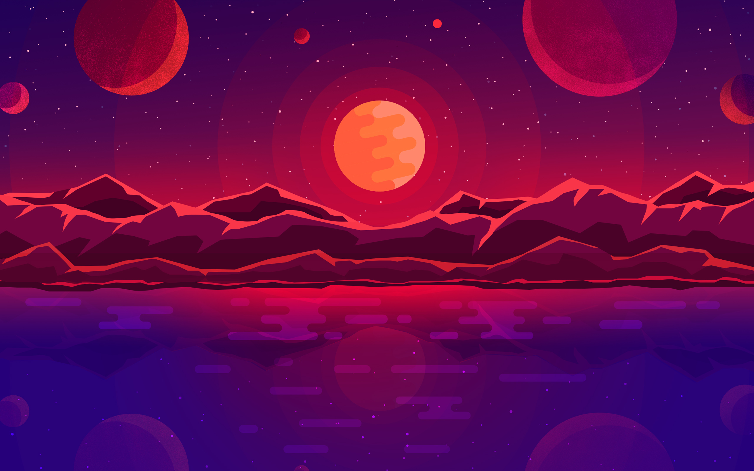 Wallpaper Sunset Planets HD Oni