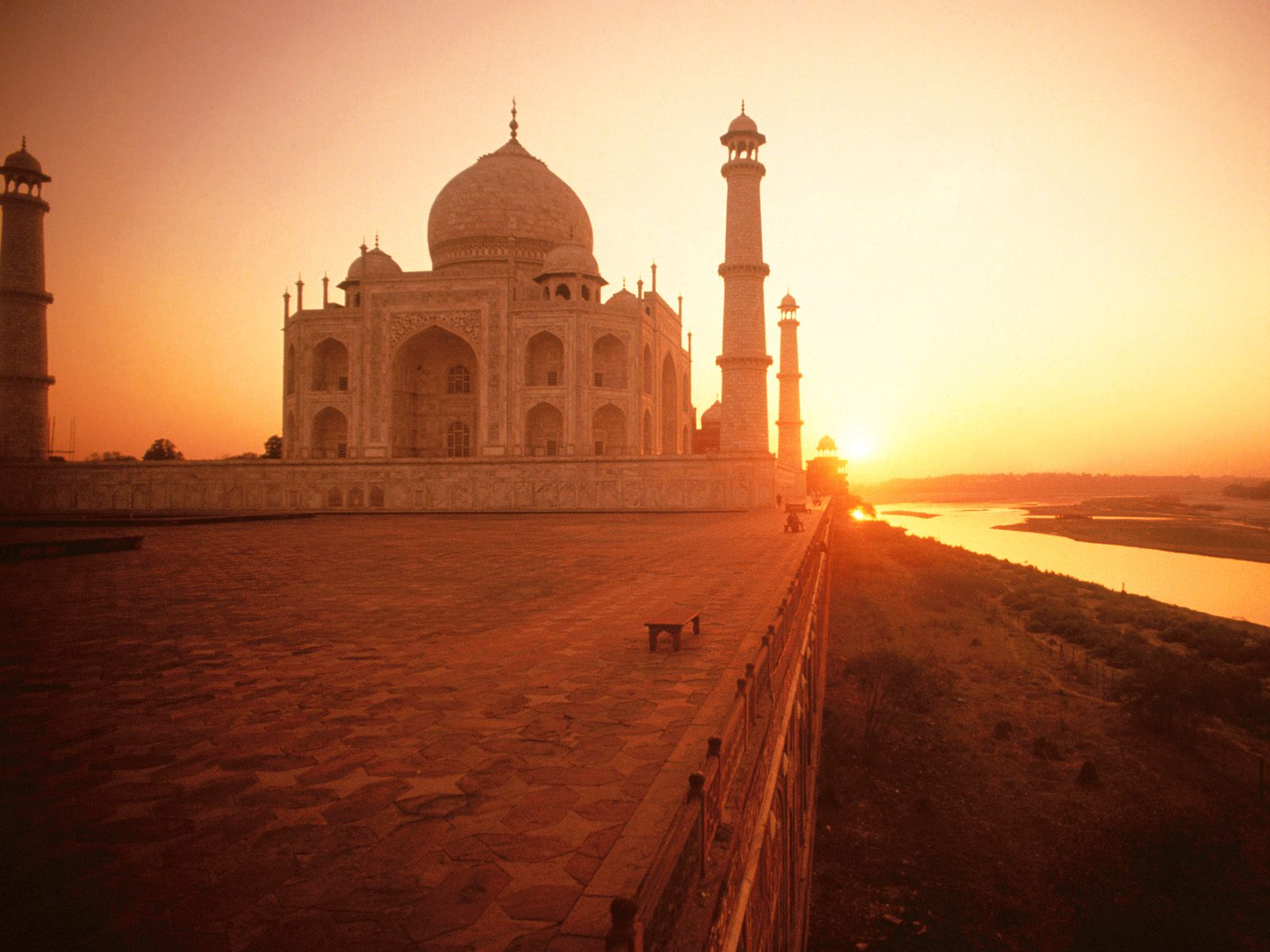 wallpaper the taj mahal at sunset india head, india, mahal, sunset
