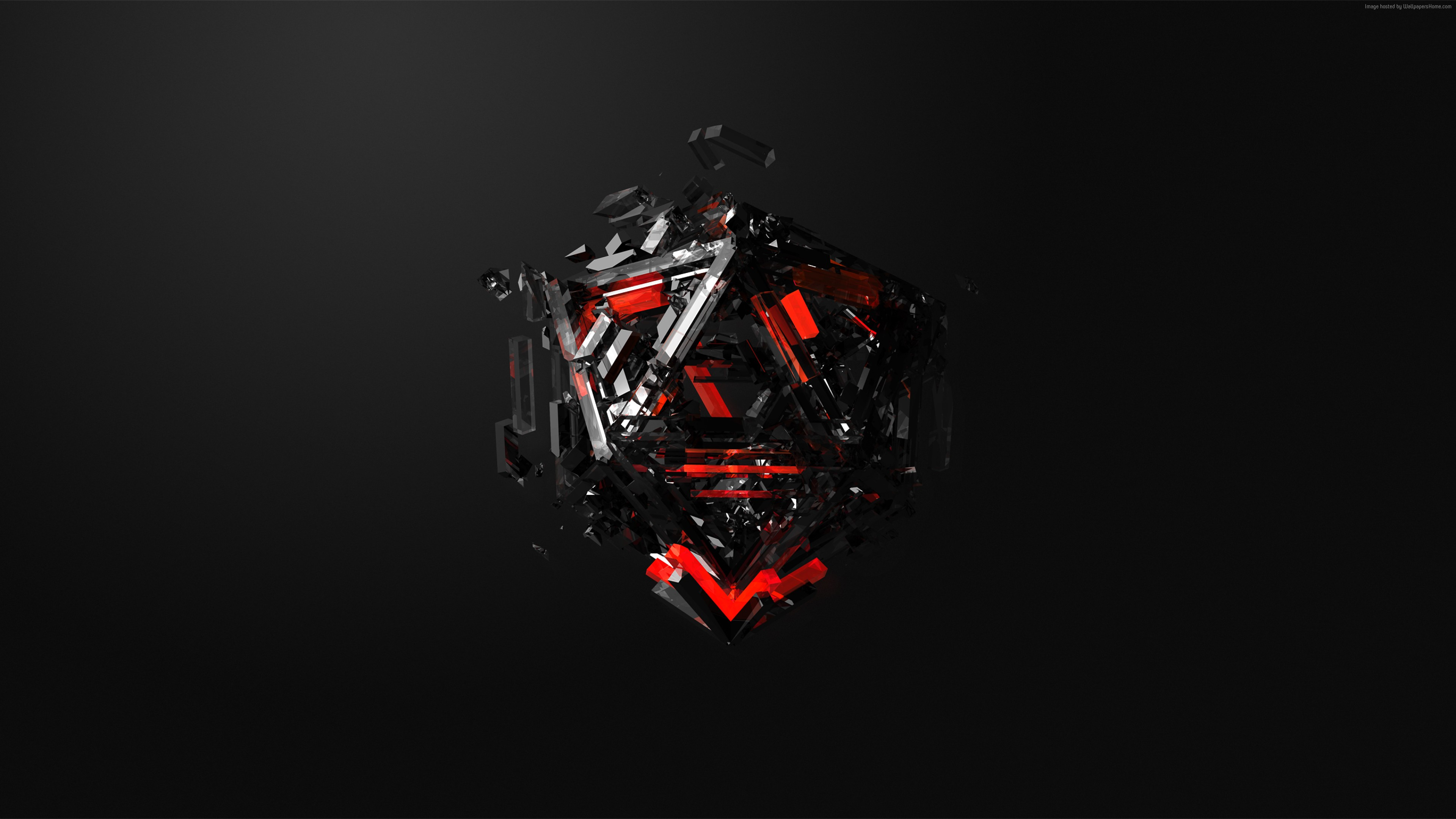 Wallpaper Triangles 3D Red Black HD Abstract Wallpapers