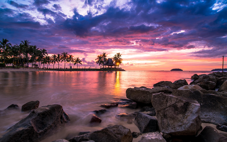 Wallpaper 4k Beach Resort Sunset Beach Newport Resort Sunset
