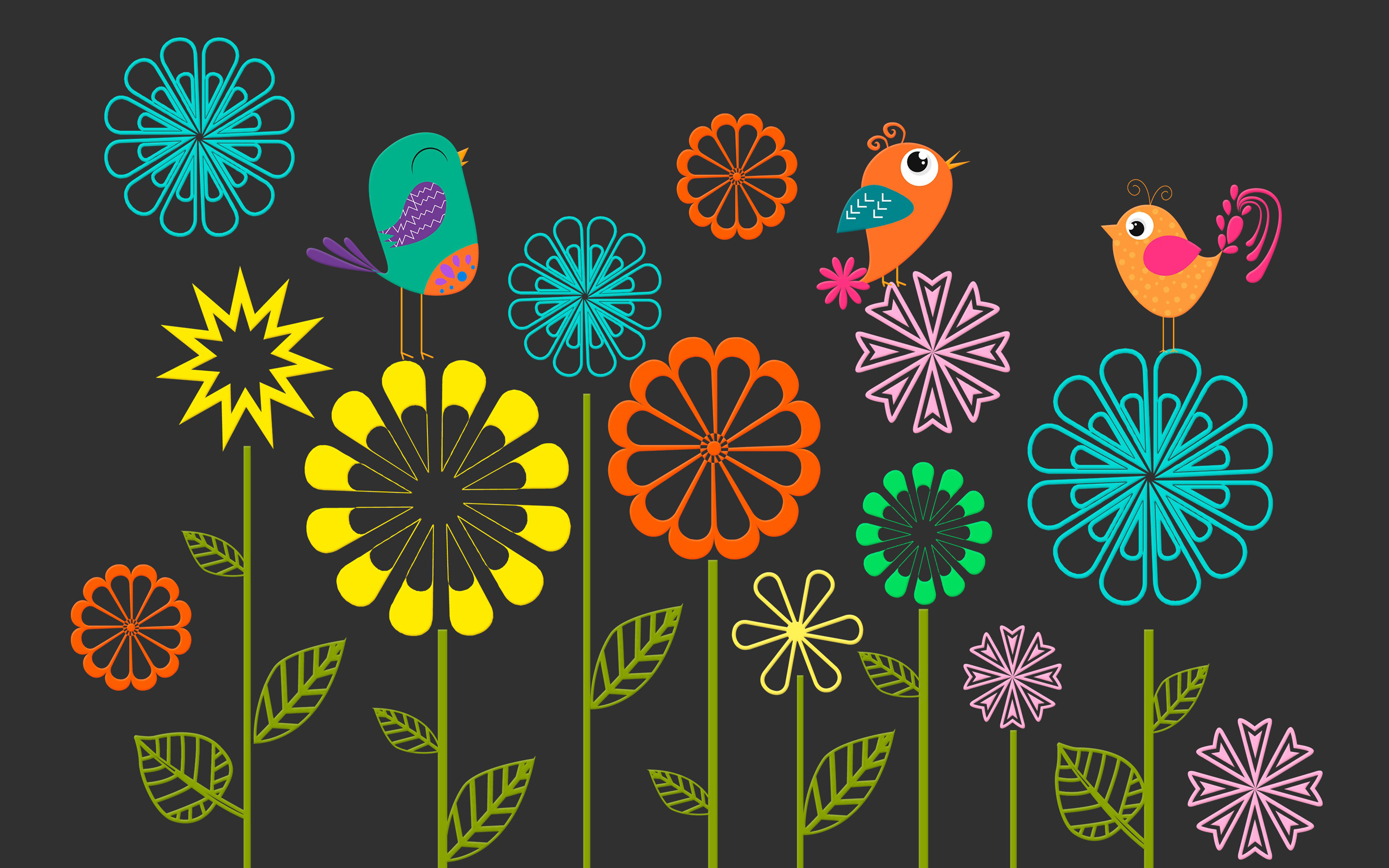 Colorful Vector Flowers Birds8897719150 - Colorful Vector Flowers Birds - Vector, Rough, Flowers, Colorful, Birds