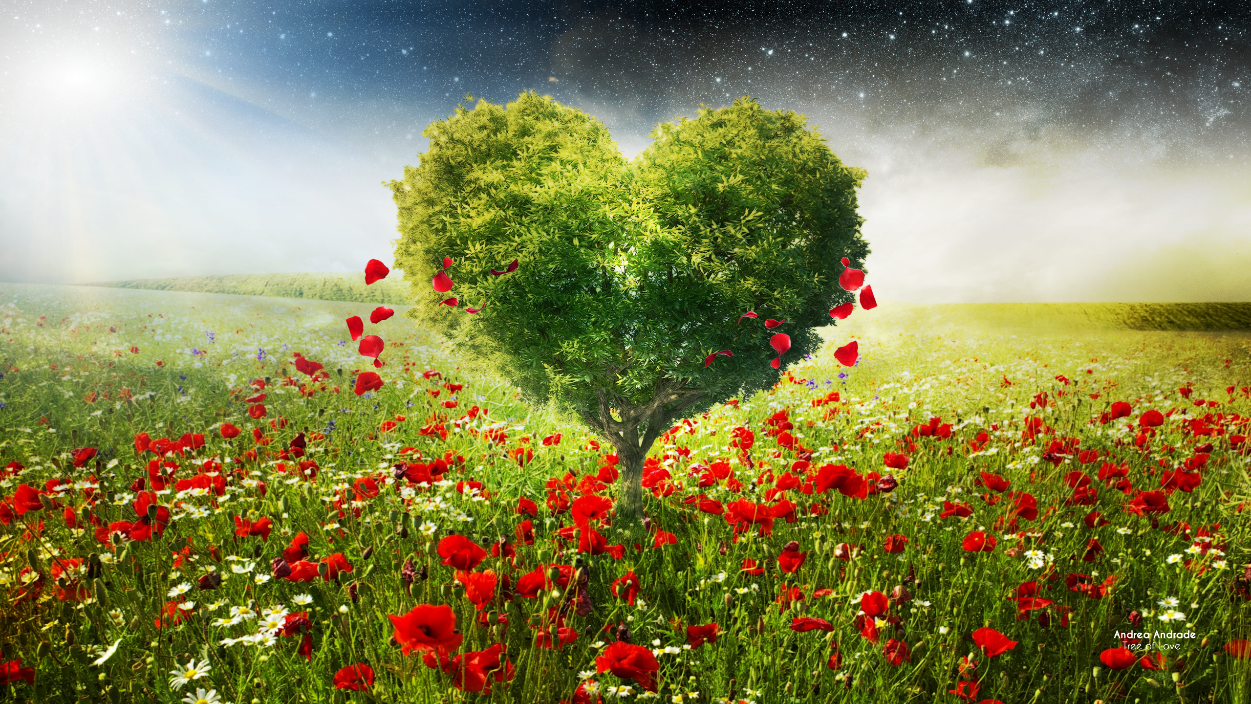 Green Love Heart Tree Poppies334609801 - Green Love Heart Tree Poppies - tree, Poppies, Love, Heart, Hands, green