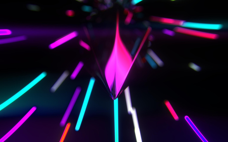 Neon Lights 4K Triangles, Neon, Lights