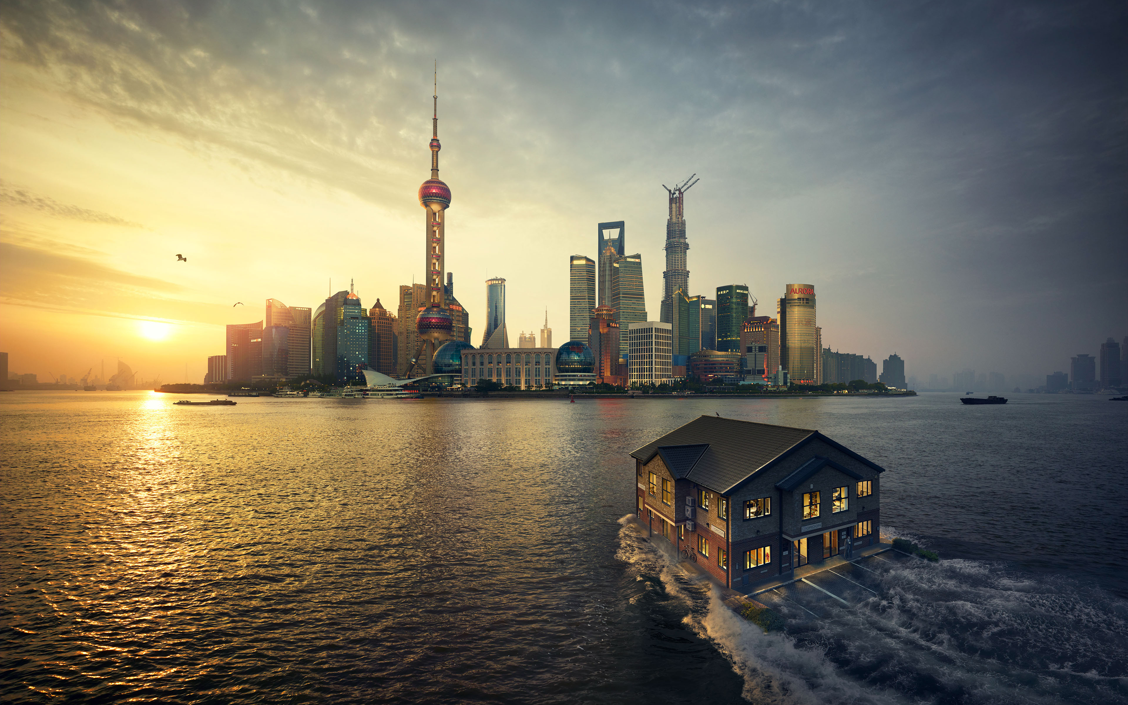Wallpaper 4k Shanghai Sunset 4k Hdr Shanghai Sunset