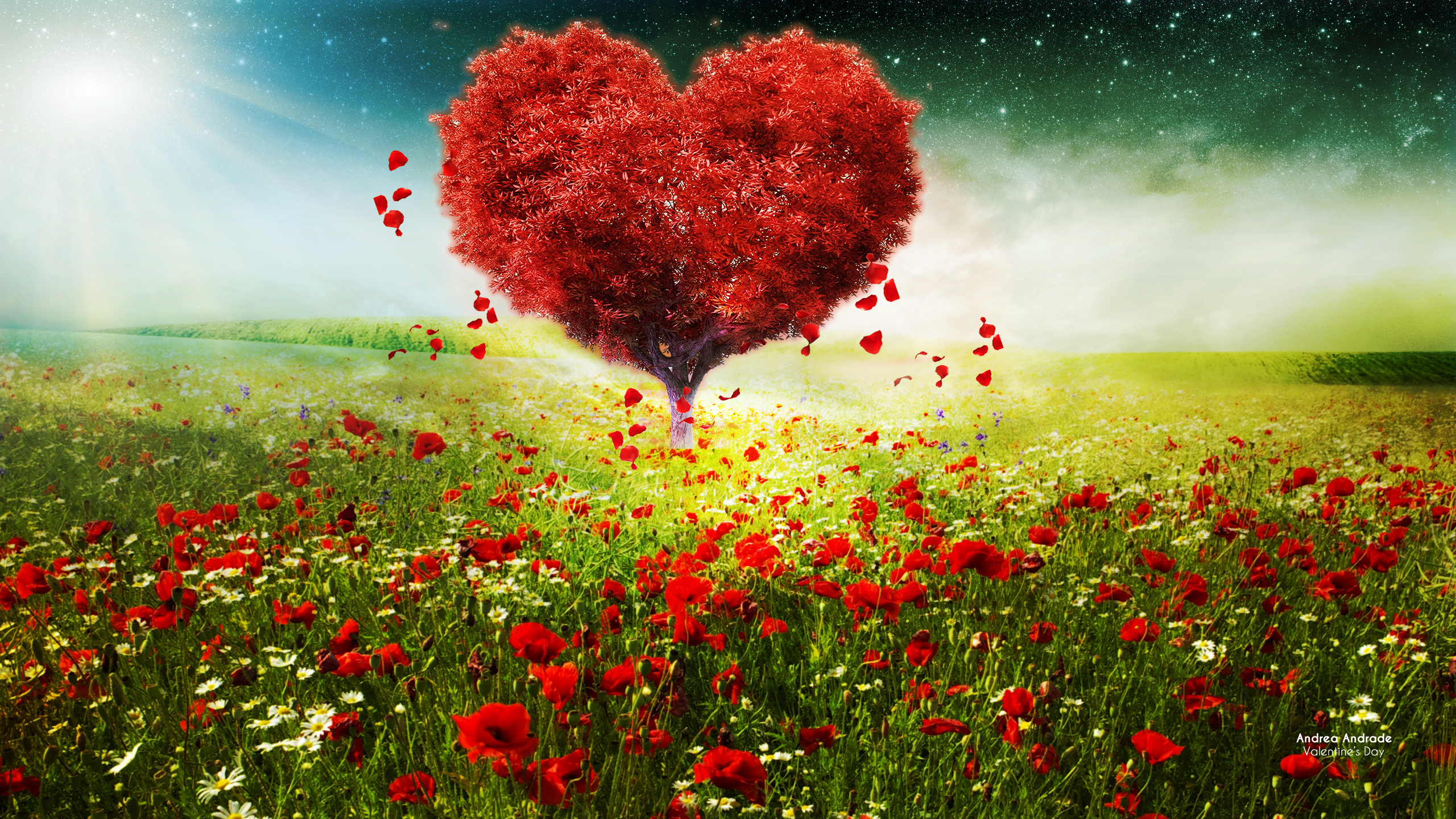 Wallpaper 4k Valentines Day Love Heart Tree Landscape Hd Day Heart