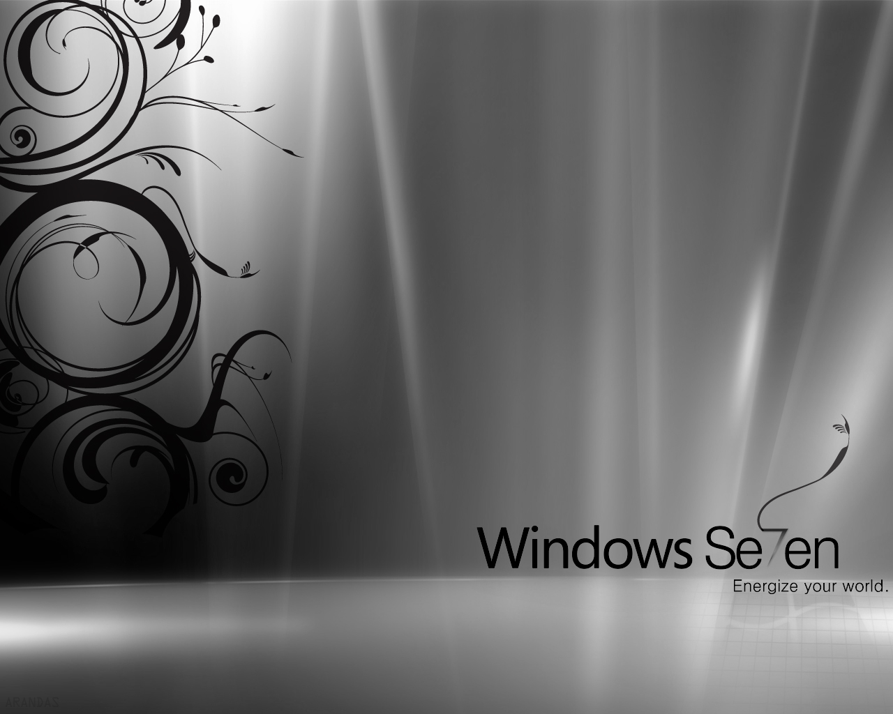 Windows 7 Black & White9310318341 - Windows 7 Black & White - Windows, white, Reflective, Black