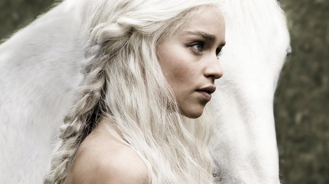 Game of Thrones Emilia Clarke with horse white hair - Game of Thrones Emilia Clarke with horse white hair - with horse, white hair, Game of Thrones, Emilia Clarke