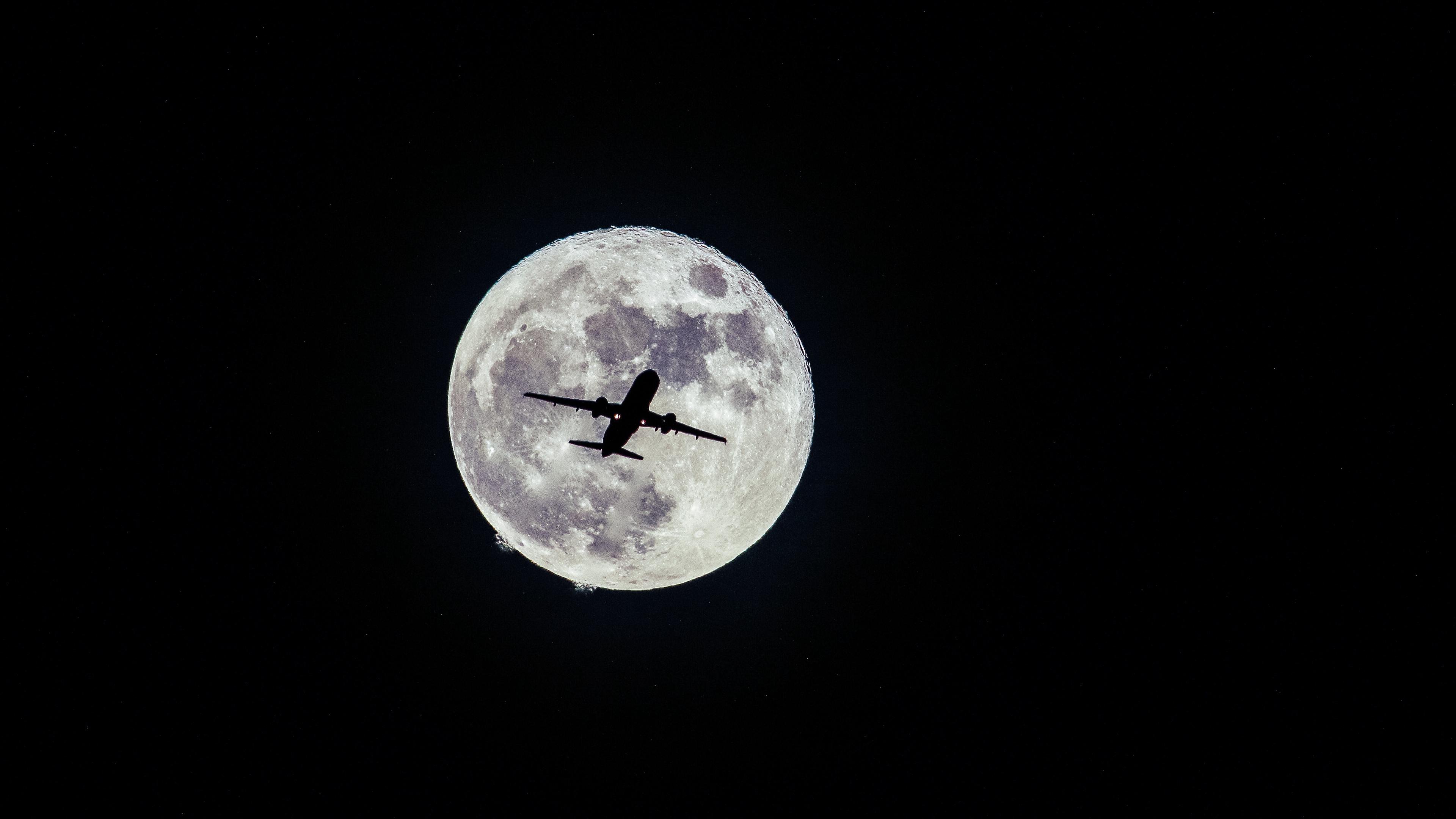 airplane moon flight bw 4k 1536016621 - airplane, moon, flight, bw 4k - Moon, Flight, Airplane