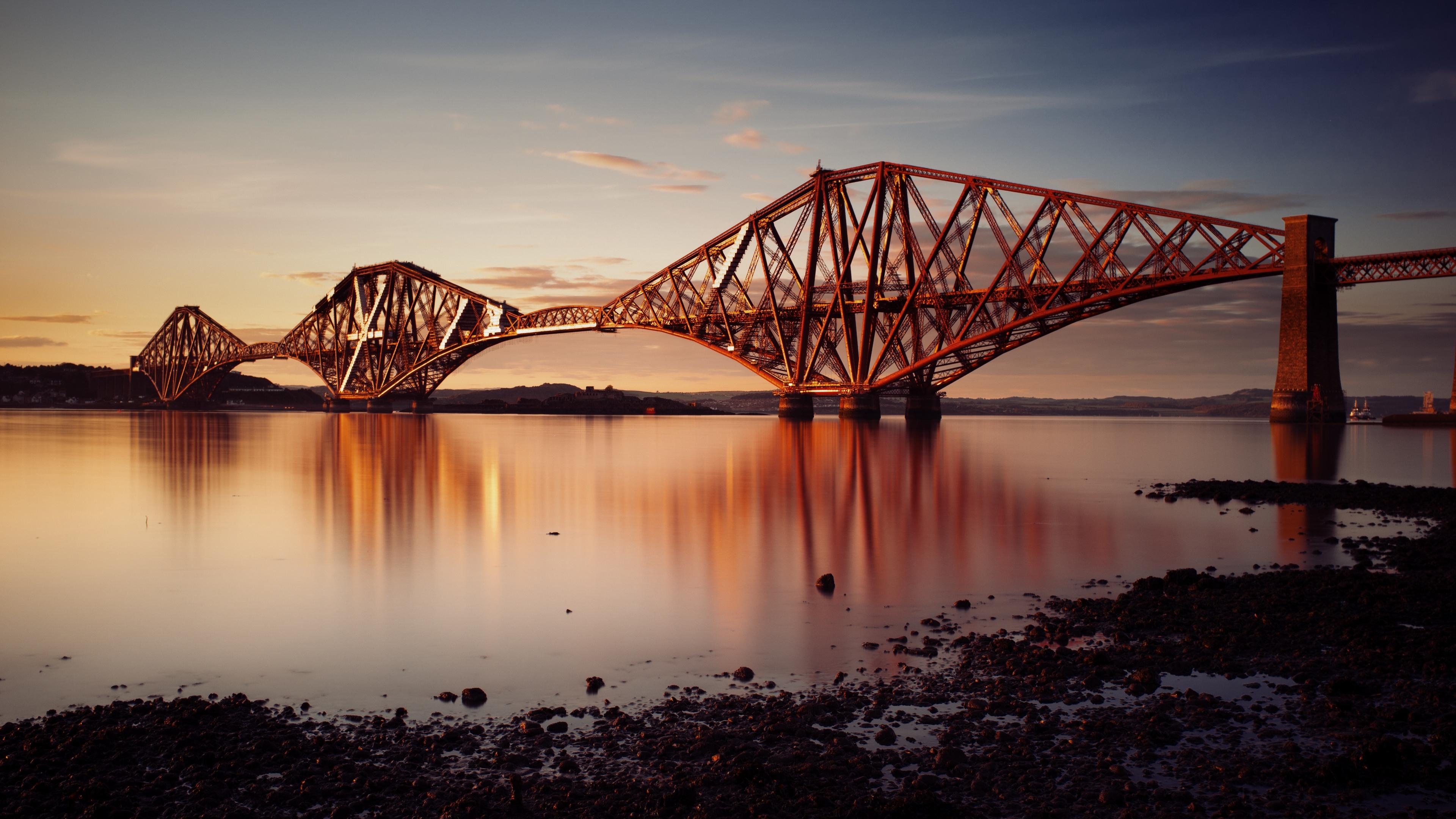 bay railway bridge sunset fort bridge scotland 4k 1538066828 - bay, railway bridge, sunset, fort bridge, scotland 4k - sunset, railway bridge, Bay