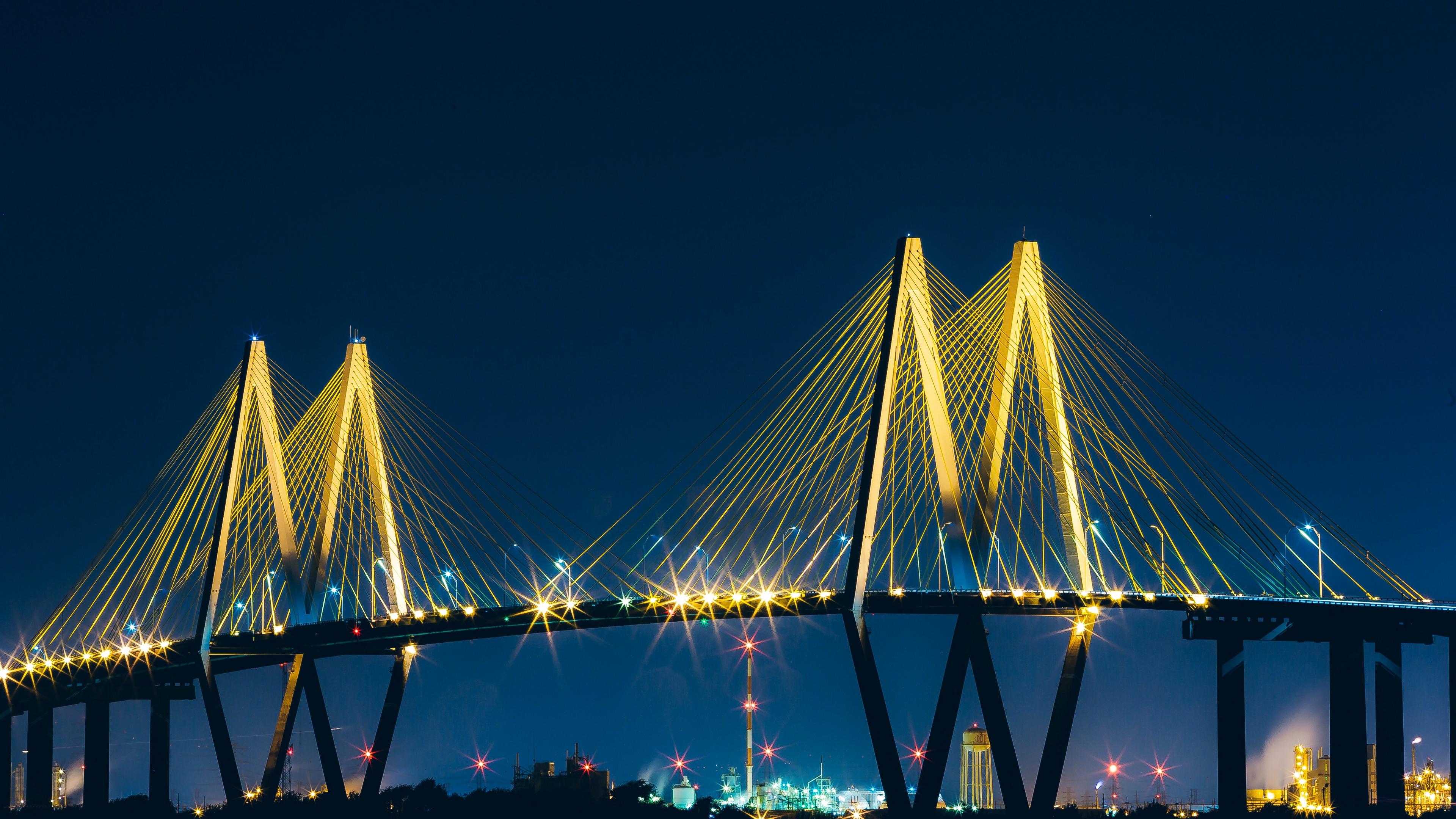 baytown united states bridge night 4k 1538066058 - baytown, united states, bridge, night 4k - united states, bridge, baytown