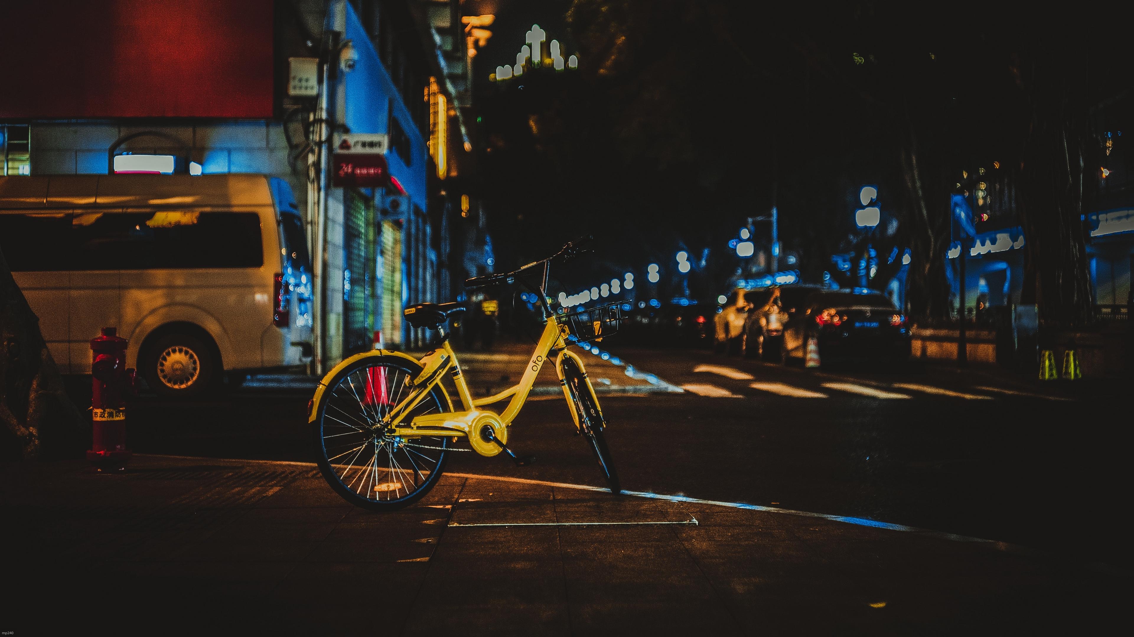 bicycle street city evening 4k 1538068132 - bicycle, street, city, evening 4k - Street, City, Bicycle