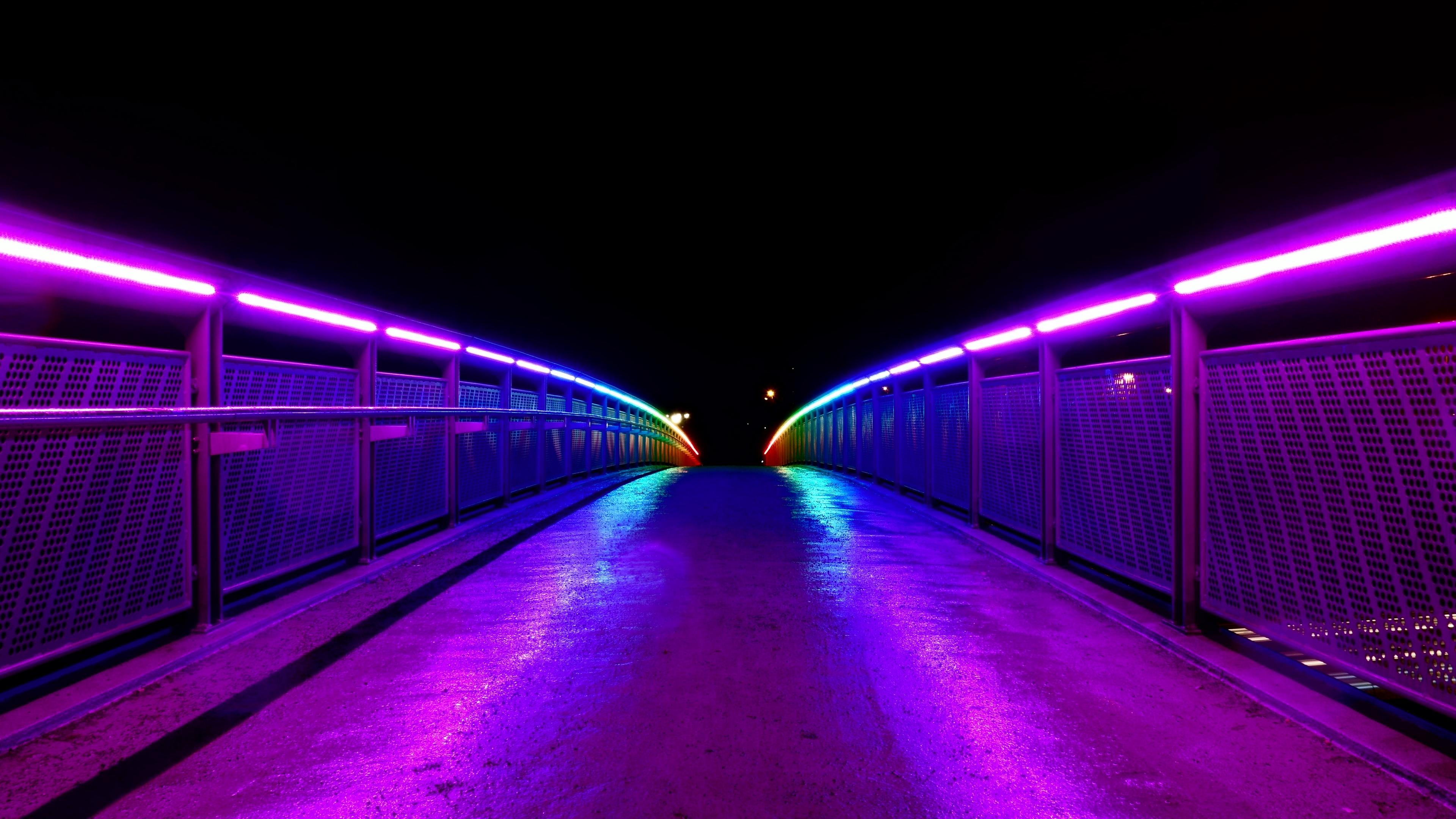 bridge lights railings road 4k 1538068188 - bridge, lights, railings, road 4k - railings, Lights, bridge