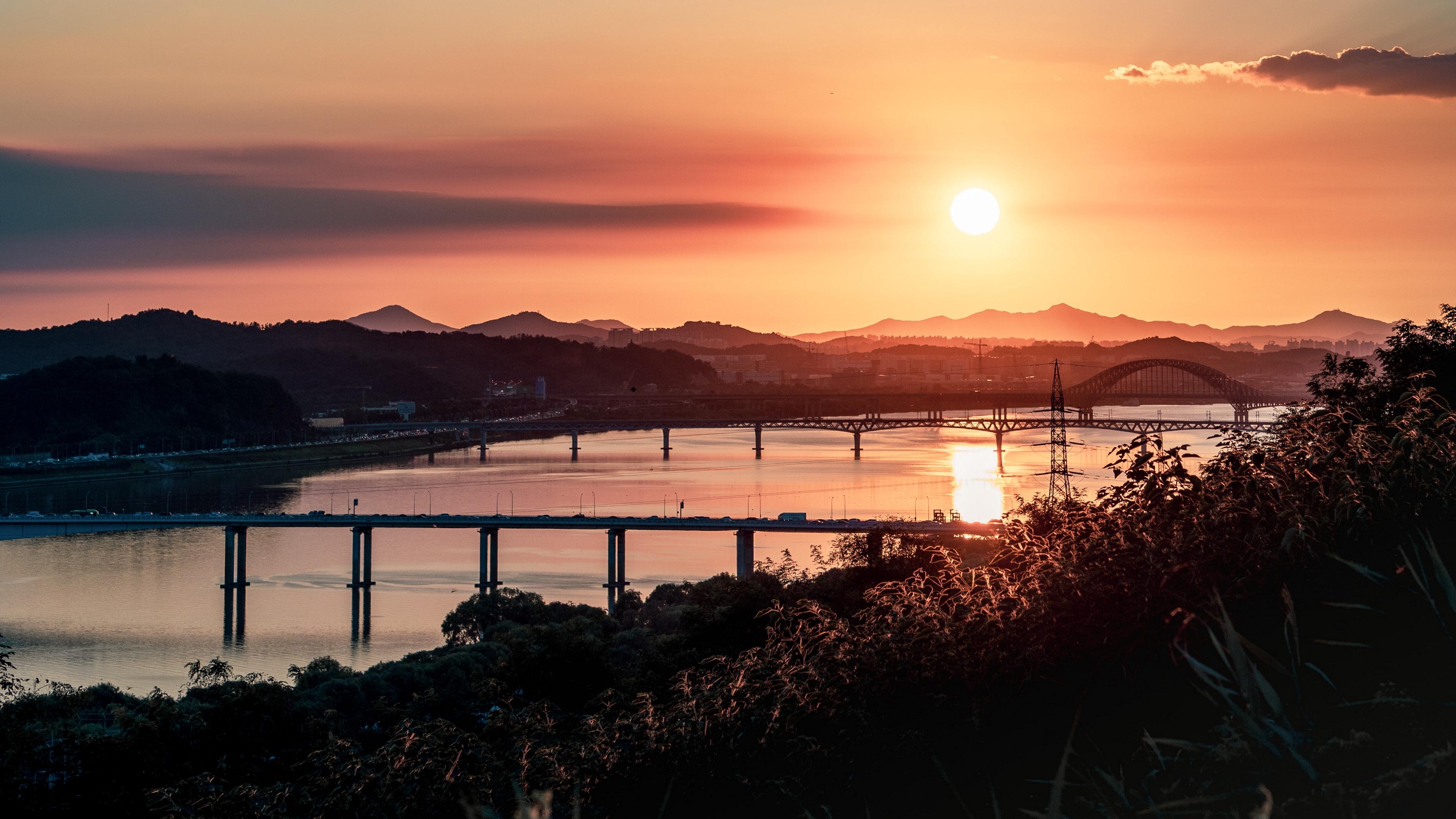 bridges sunset river clouds 4k 1538066201 - bridges, sunset, river, clouds 4k - sunset, River, bridges