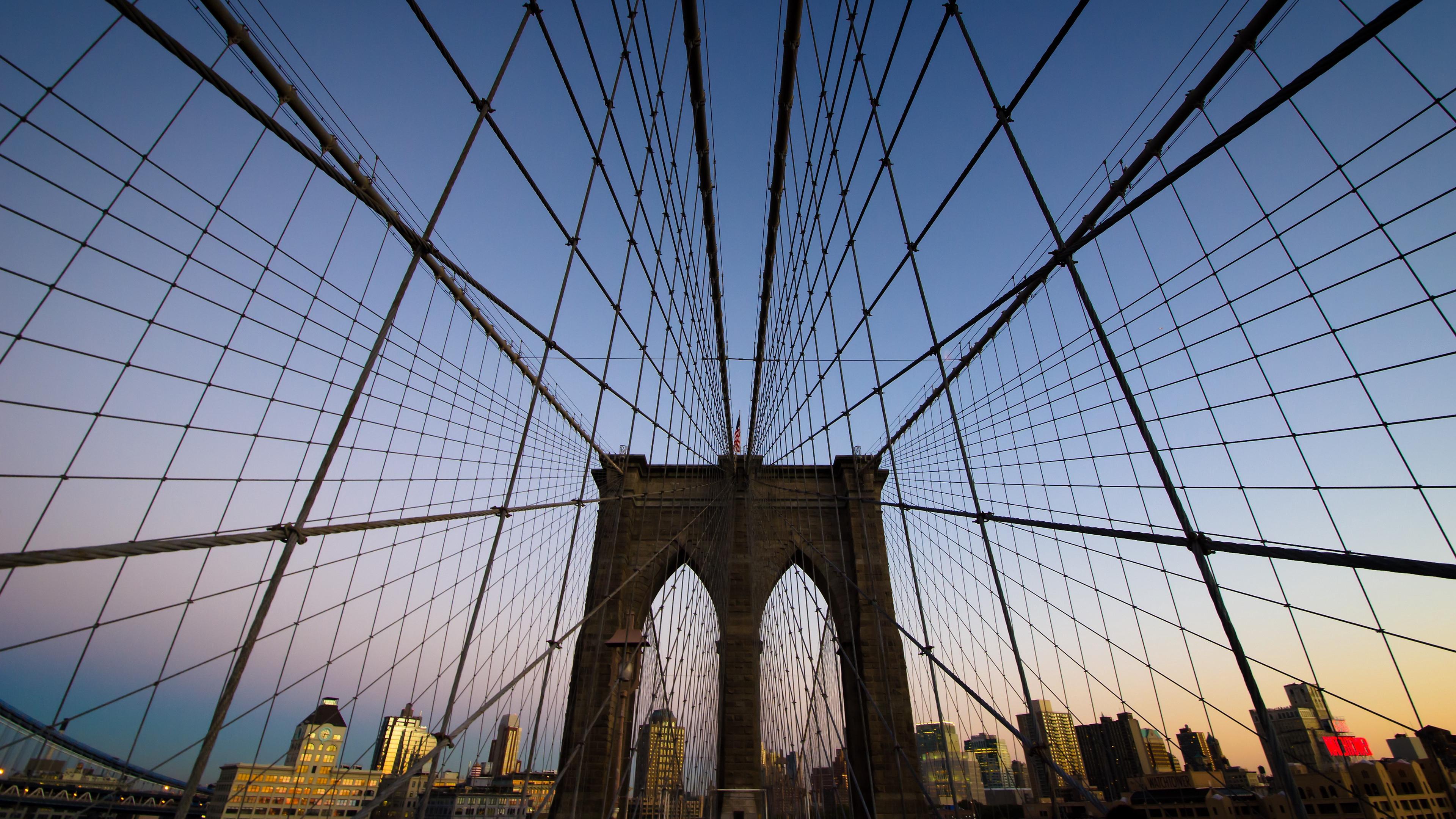 brooklyn bridge new york evening 4k 1538065249 - brooklyn bridge, new york, evening 4k - new york, Evening, brooklyn bridge