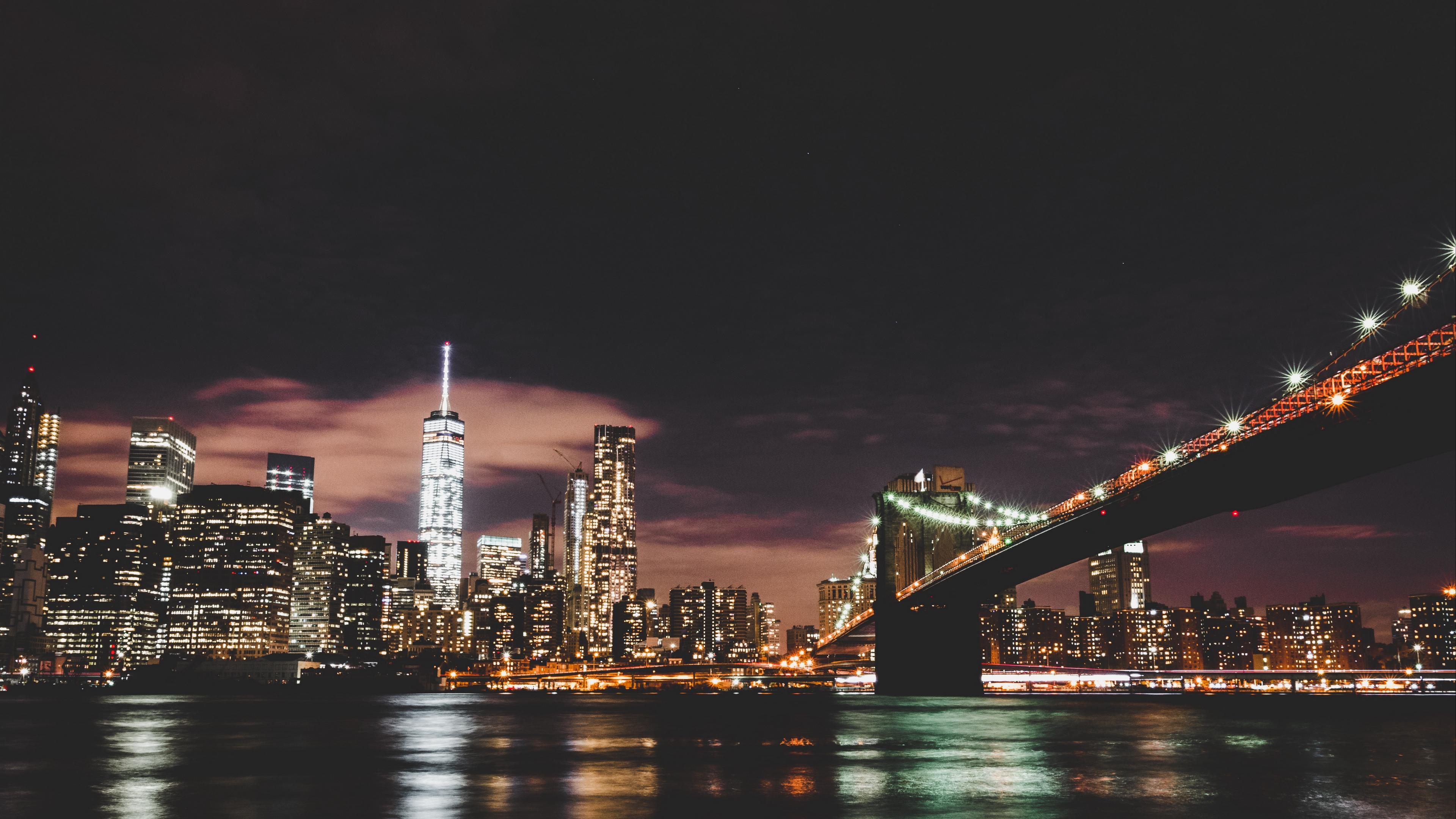 brooklyn usa night city bridge 4k 1538067261 - brooklyn, usa, night city, bridge 4k - USA, night city, Brooklyn