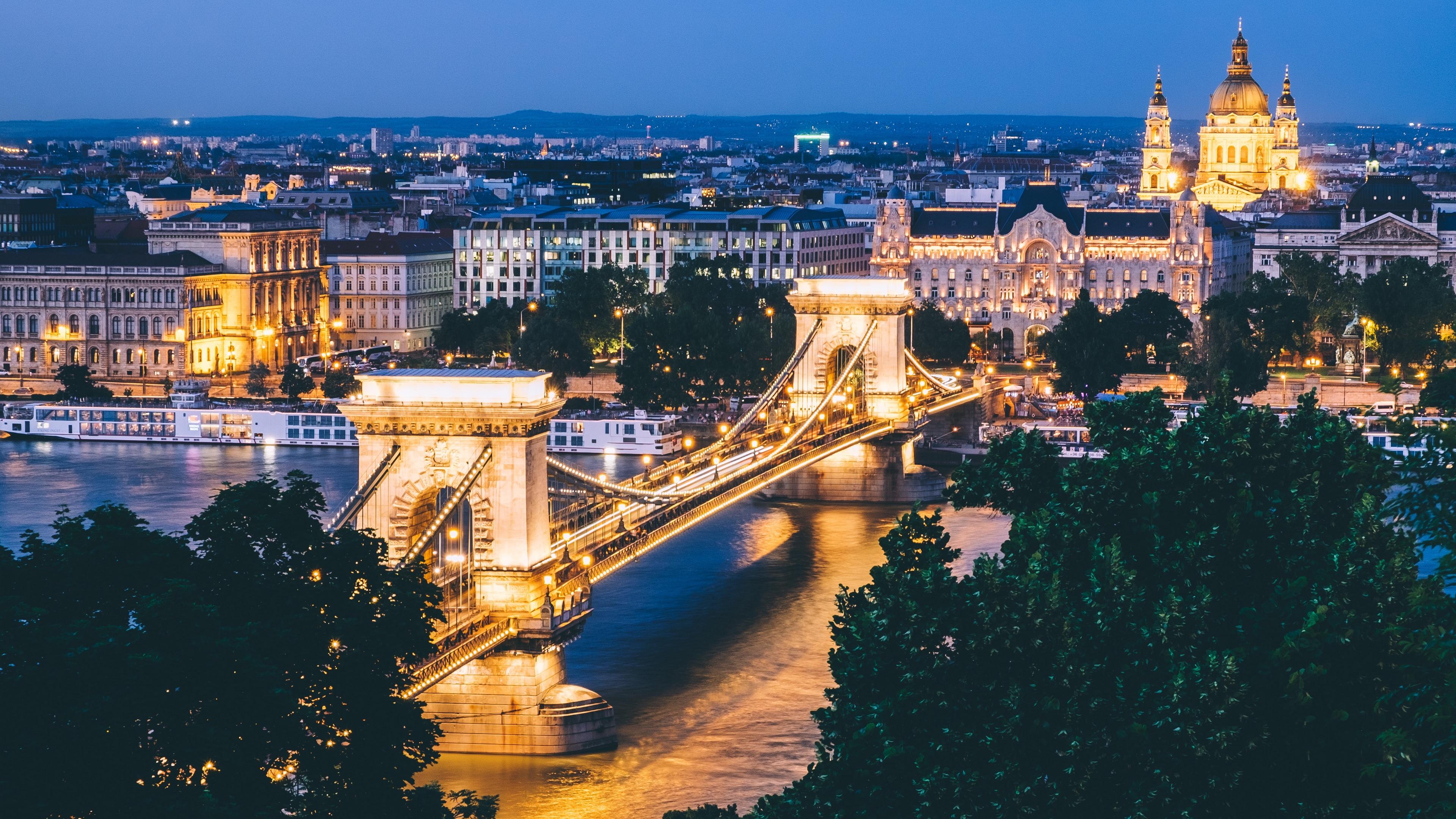 budapest hungary bridge night city 4k 1538065548 - budapest, hungary, bridge, night city 4k - hungary, Budapest, bridge