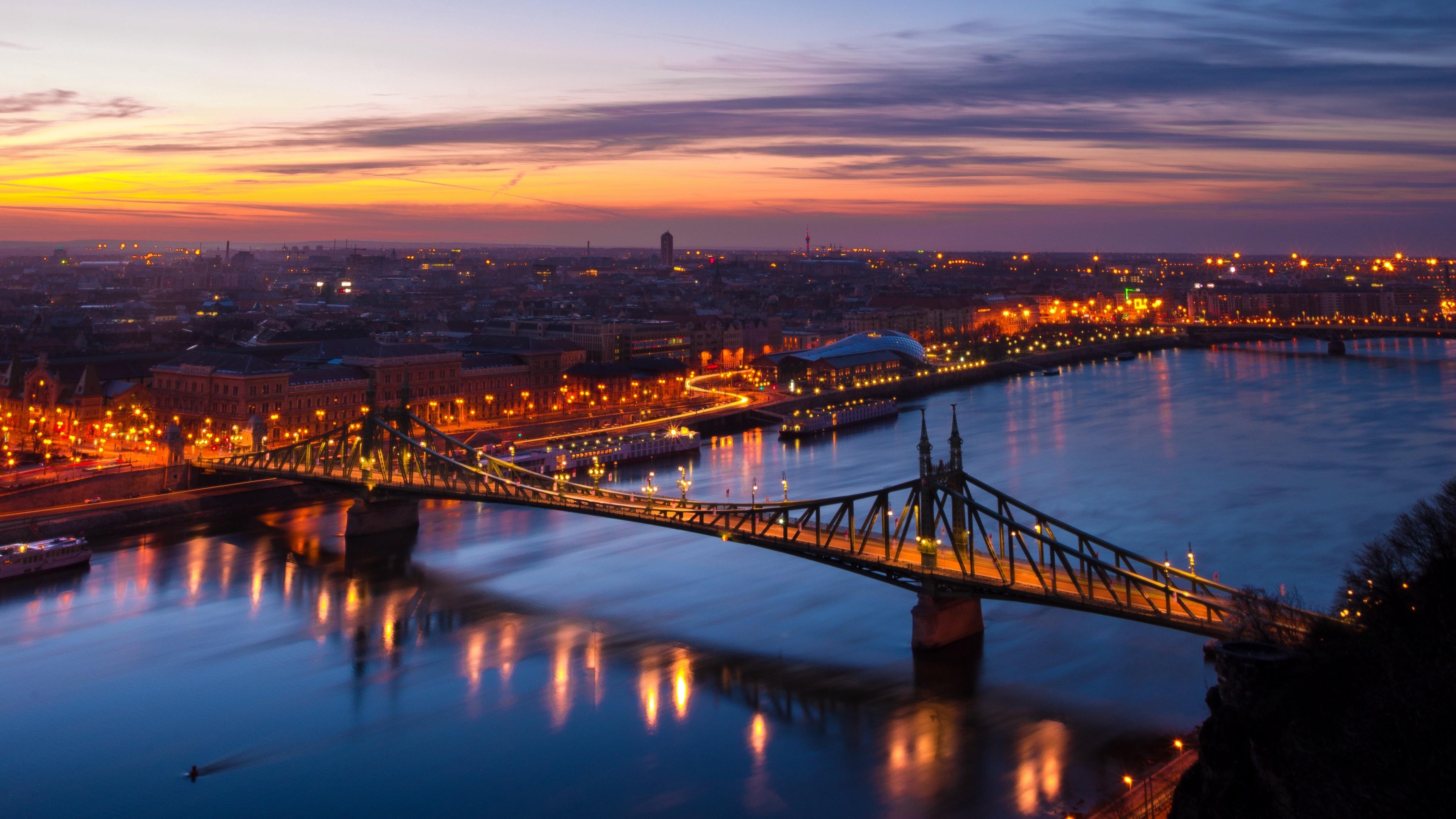 budapest hungary night city bridge 4k 1538066039 - budapest, hungary, night city, bridge 4k - night city, hungary, Budapest
