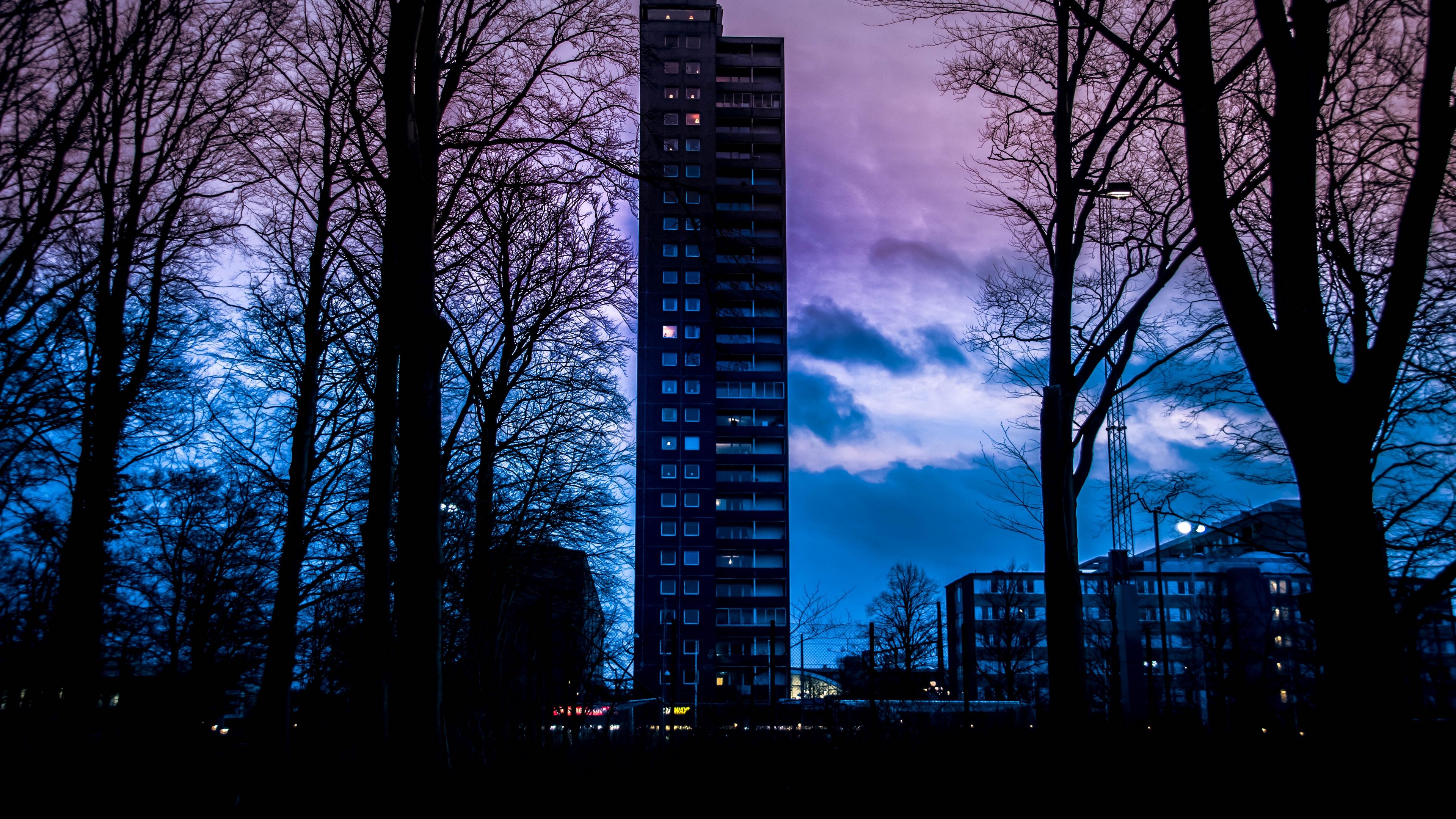 building sunset sweden clouds 4k 1538065526 - building, sunset, sweden, clouds 4k - sweden, sunset, Building