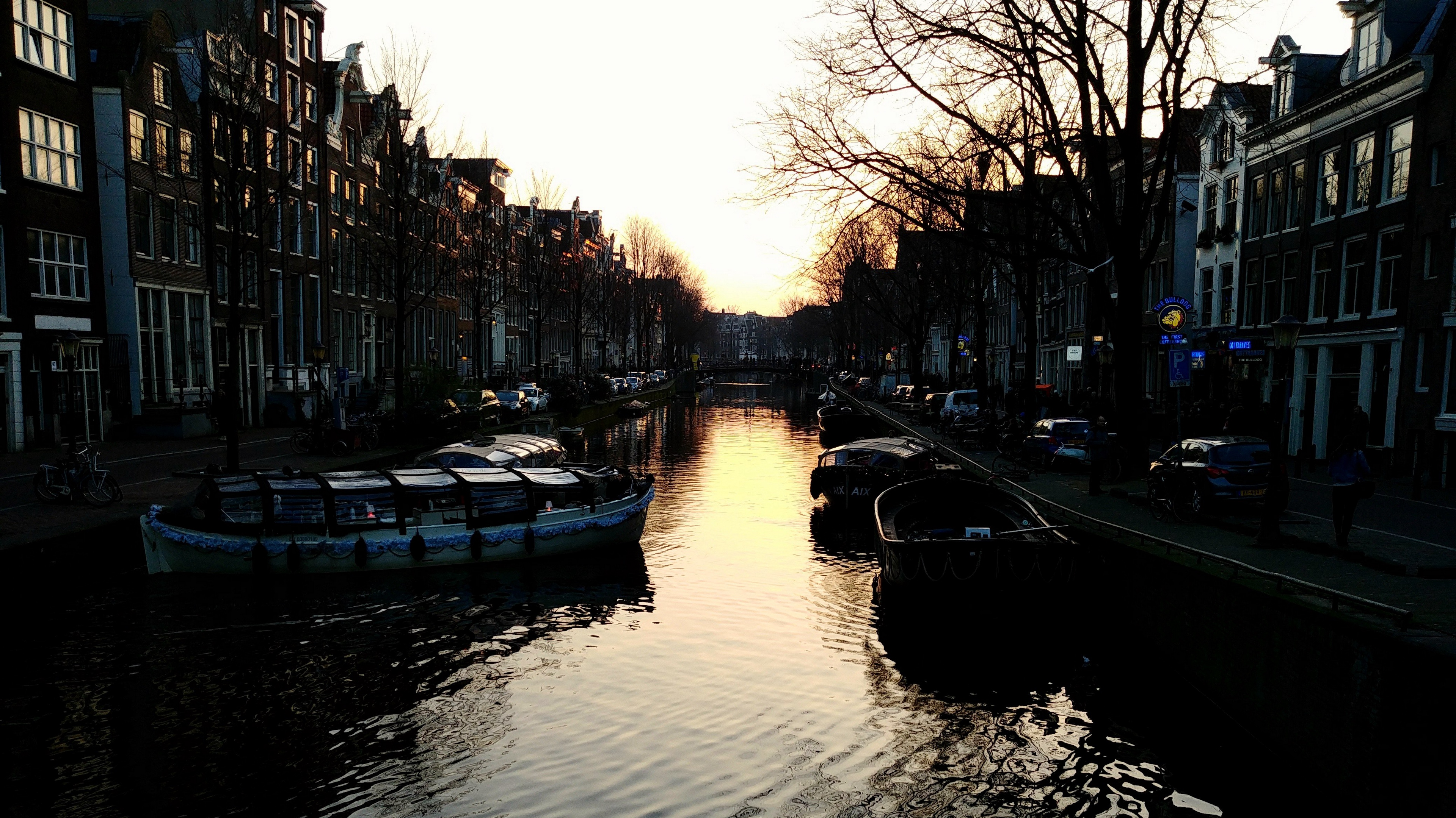 canal boats sunset amsterdam buildings 4k 1538065169 - canal, boats, sunset, amsterdam, buildings 4k - sunset, Canal, boats