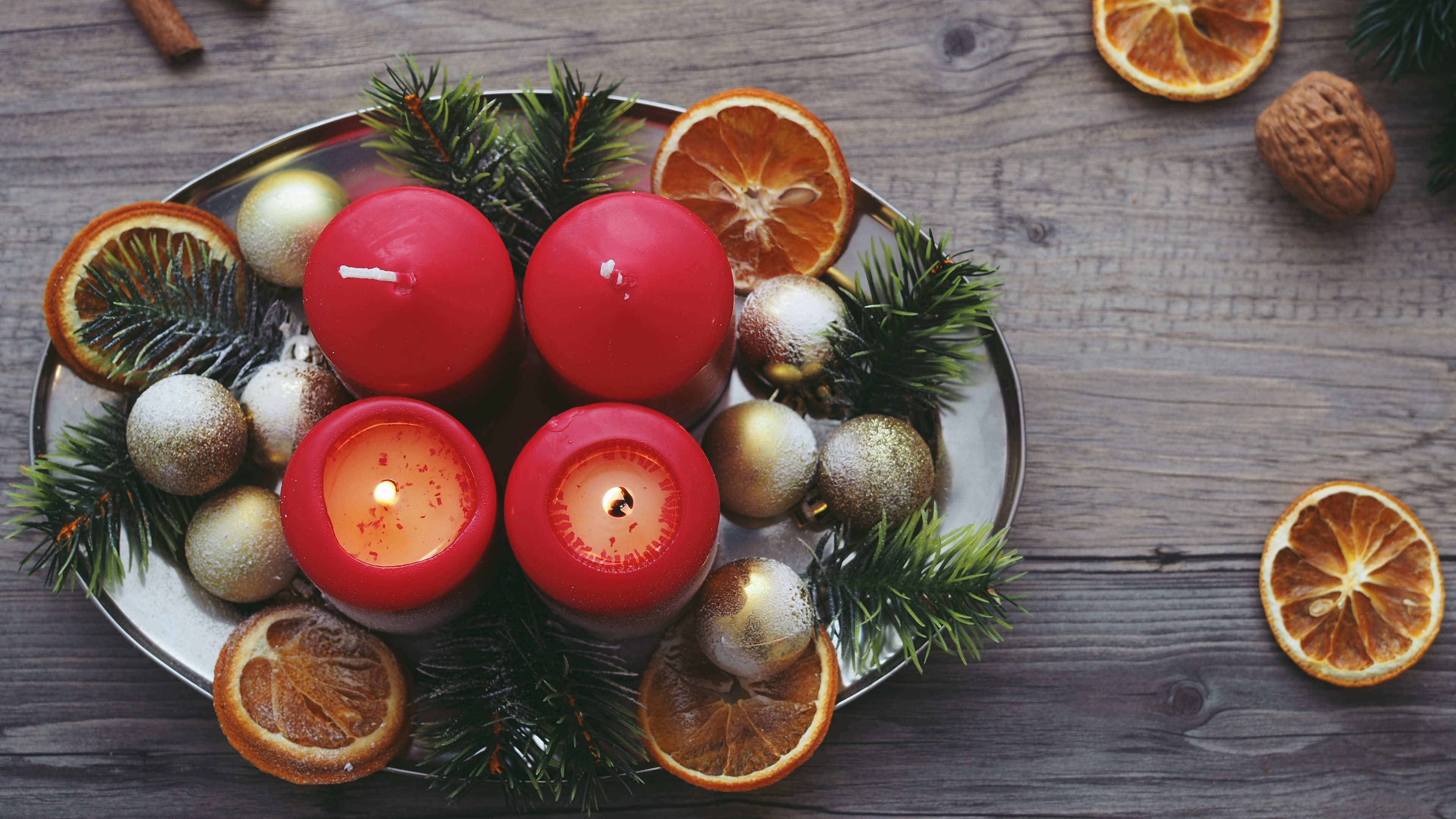 candles christmas spruce oranges 4k 1538344603 - candles, christmas, spruce, oranges 4k - spruce, Christmas, Candles
