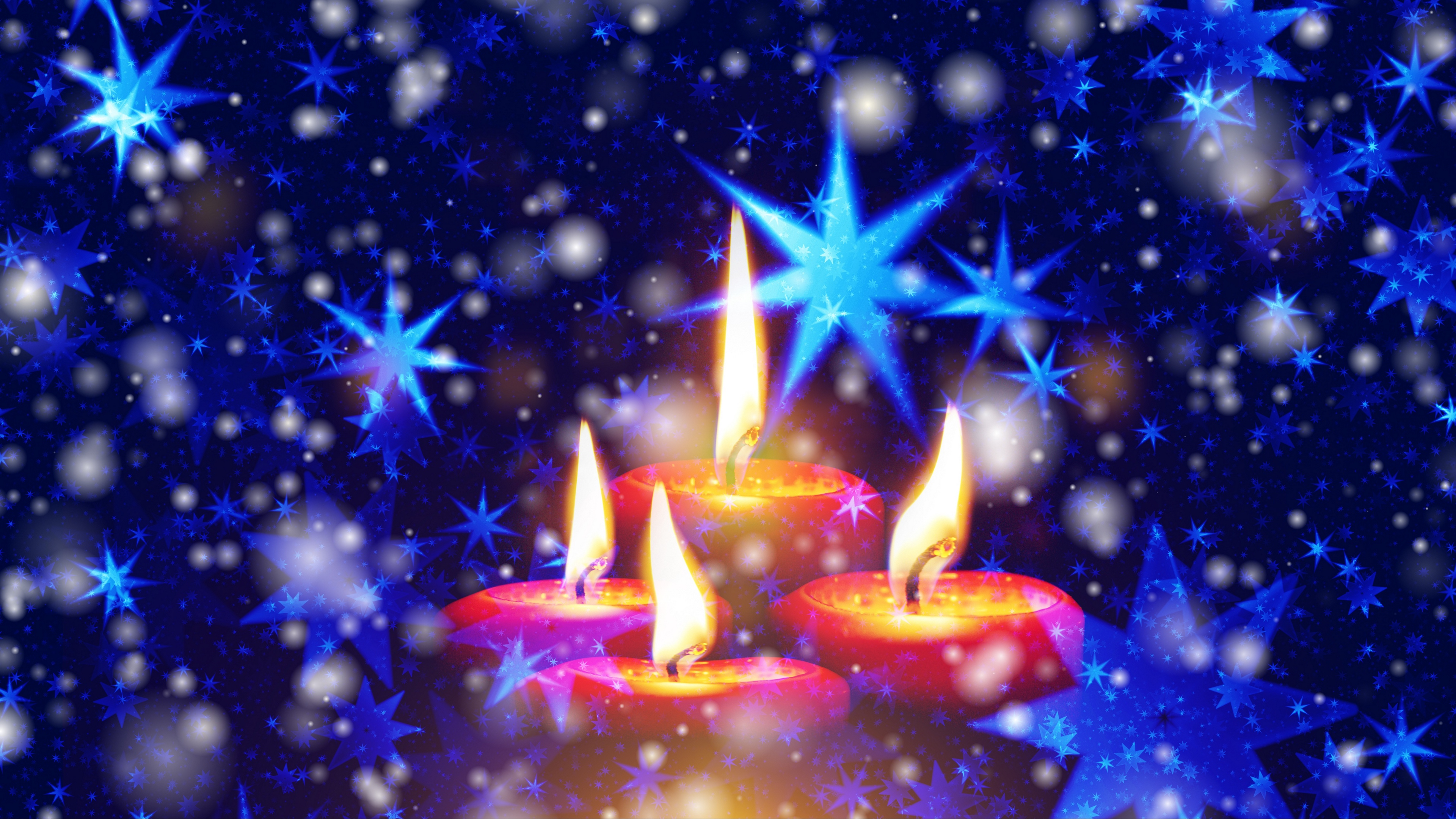 candles stars snowflakes glitter 4k 1538344973 - candles, stars, snowflakes, glitter 4k - Stars, snowflakes, Candles