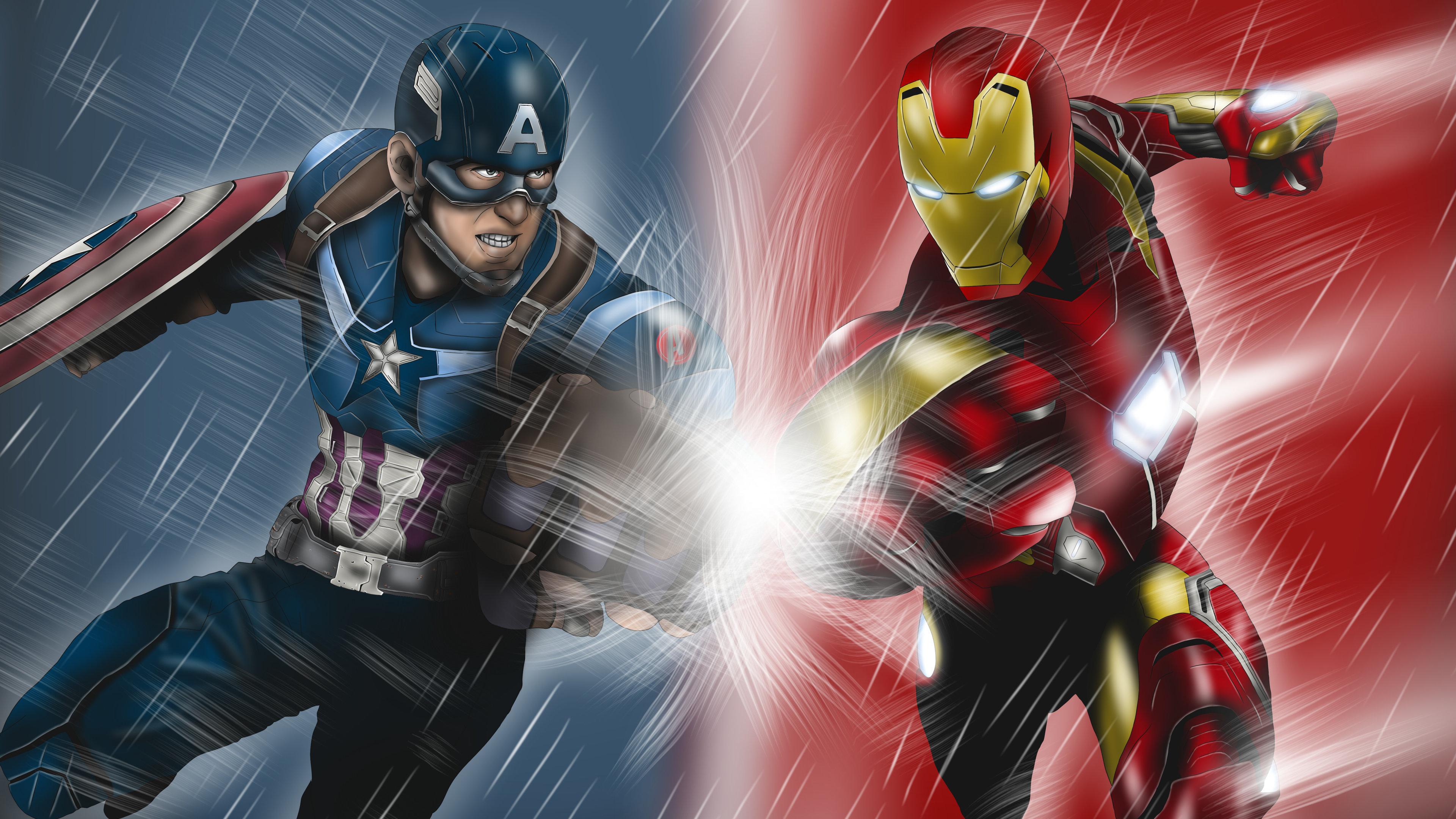 captain america and iron man artwork 5k 1536520360 - Captain America And Iron Man Artwork 5k - iron man wallpapers, hd-wallpapers, deviantart wallpapers, captain america wallpapers, artwork wallpapers, artist wallpapers, 5k wallpapers, 4k-wallpapers