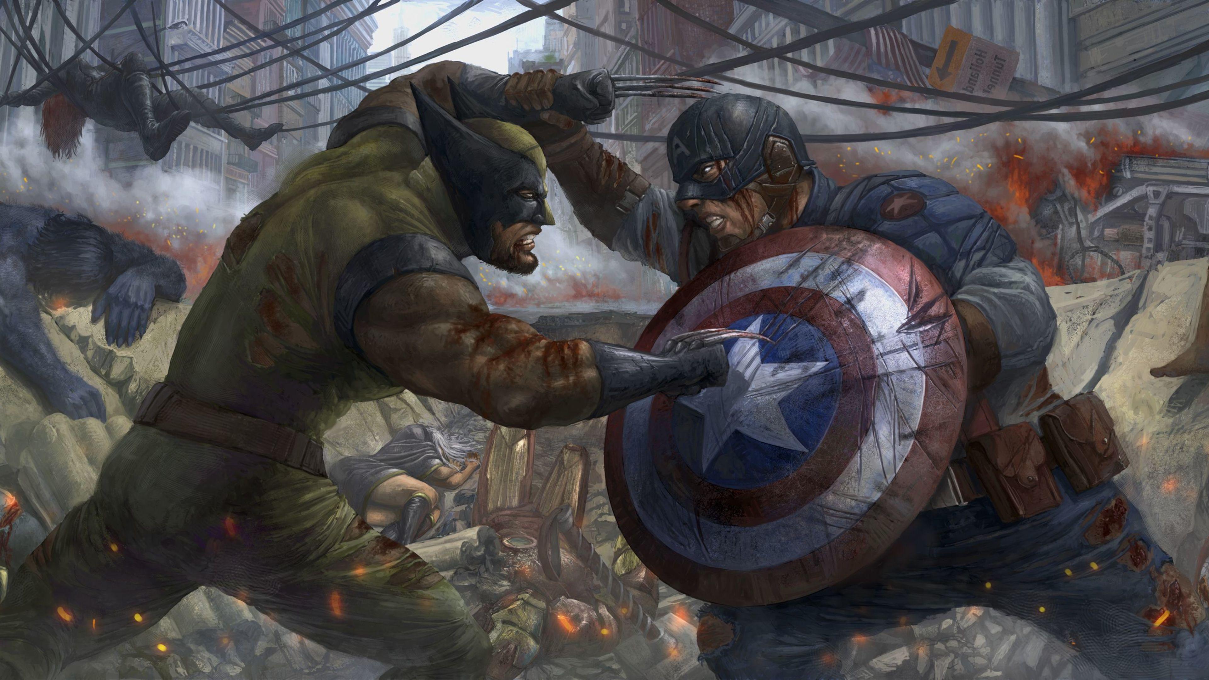 captain america vs wolverine 1536522730 - Captain America Vs Wolverine - wolverine wallpapers, superheroes wallpapers, hd-wallpapers, digital art wallpapers, captain america wallpapers, artwork wallpapers