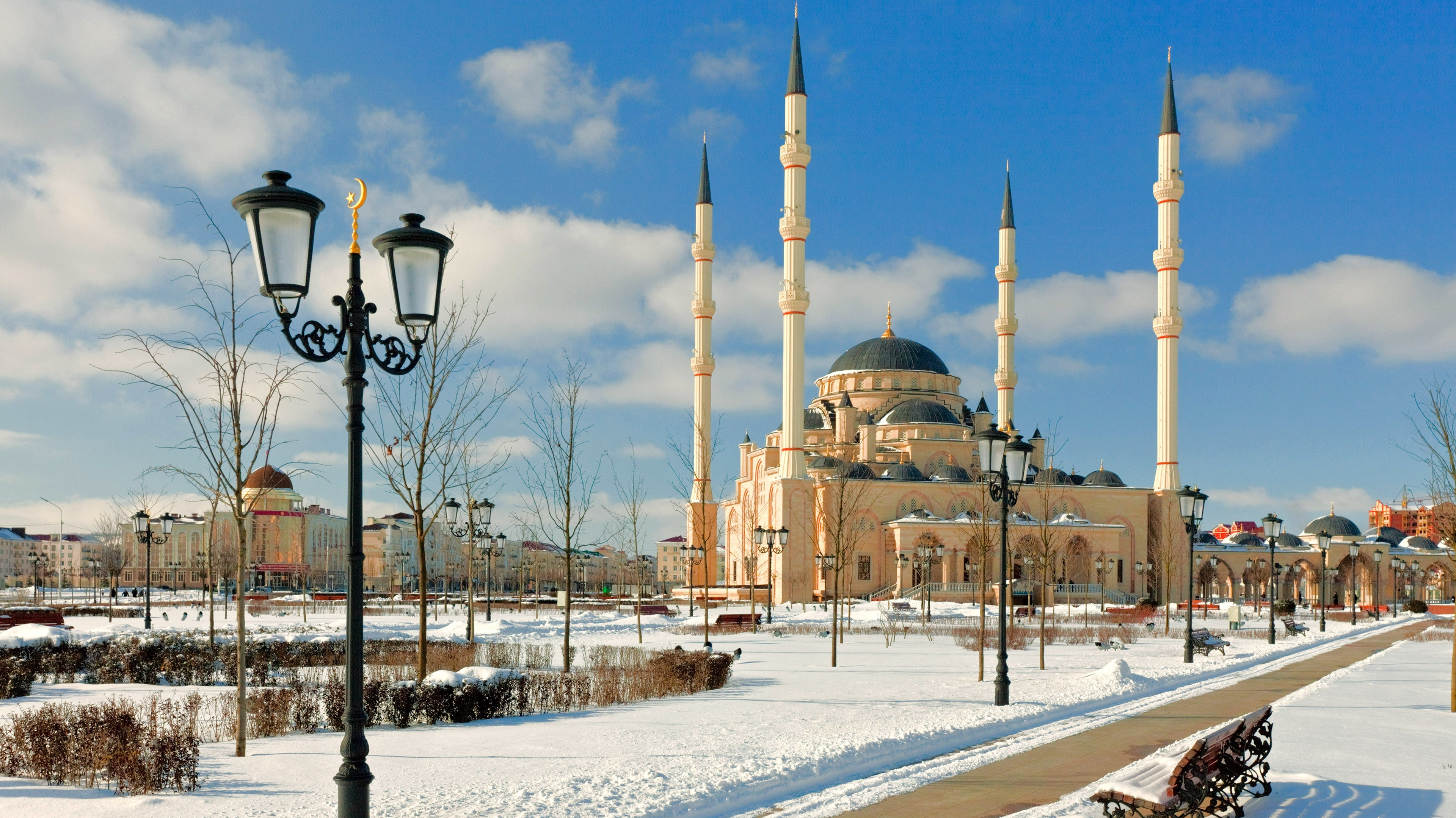 chechnya mosque snow minaret 4k 1538064729 - chechnya, mosque, snow, minaret 4k - Snow, Mosque, chechnya
