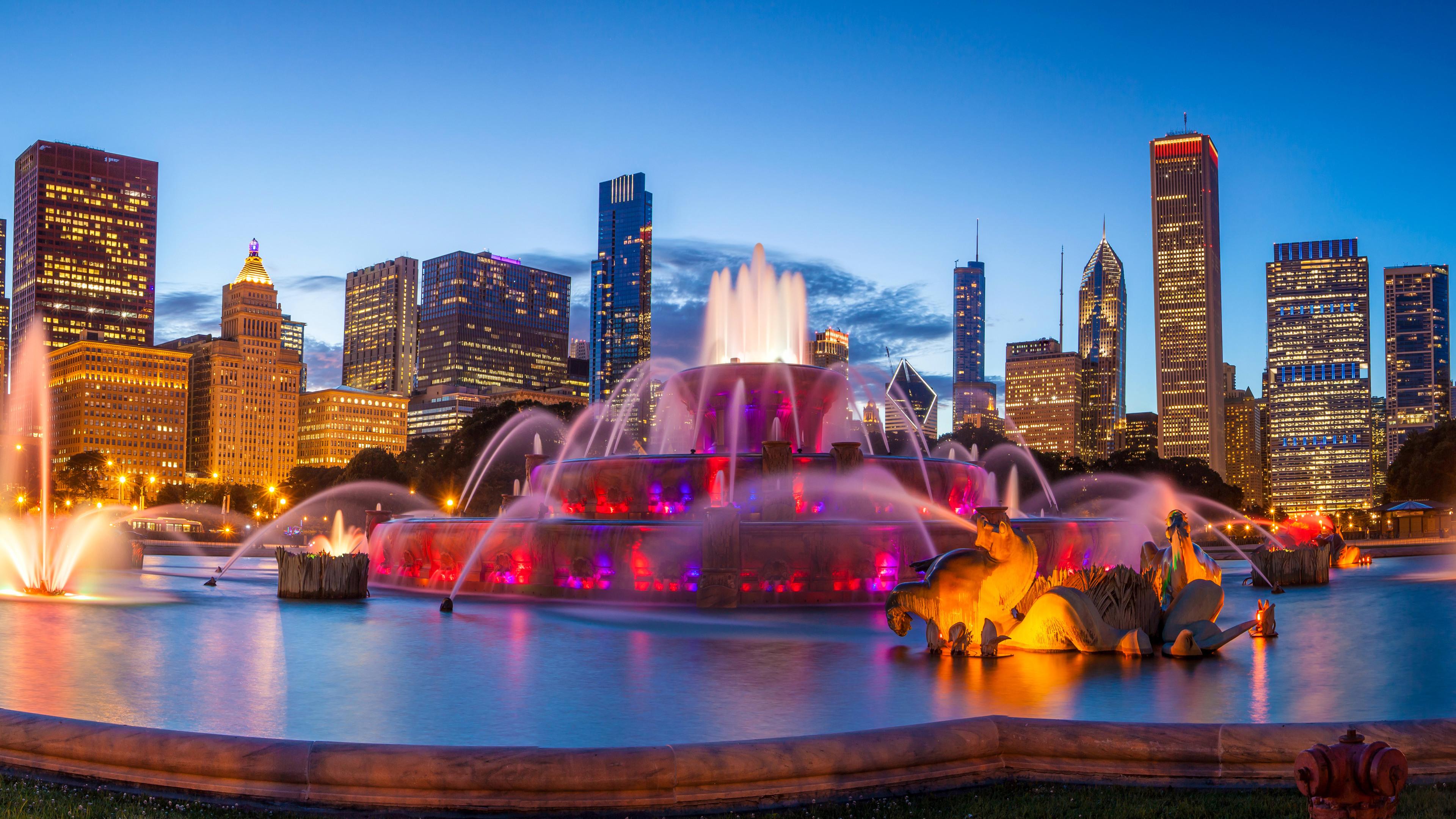chicago city waterfall 8k 1538069340 - Chicago City Waterfall 8k - world wallpapers, waterfall wallpapers, lights wallpapers, hd-wallpapers, city wallpapers, 8k wallpapers, 5k wallpapers, 4k-wallpapers