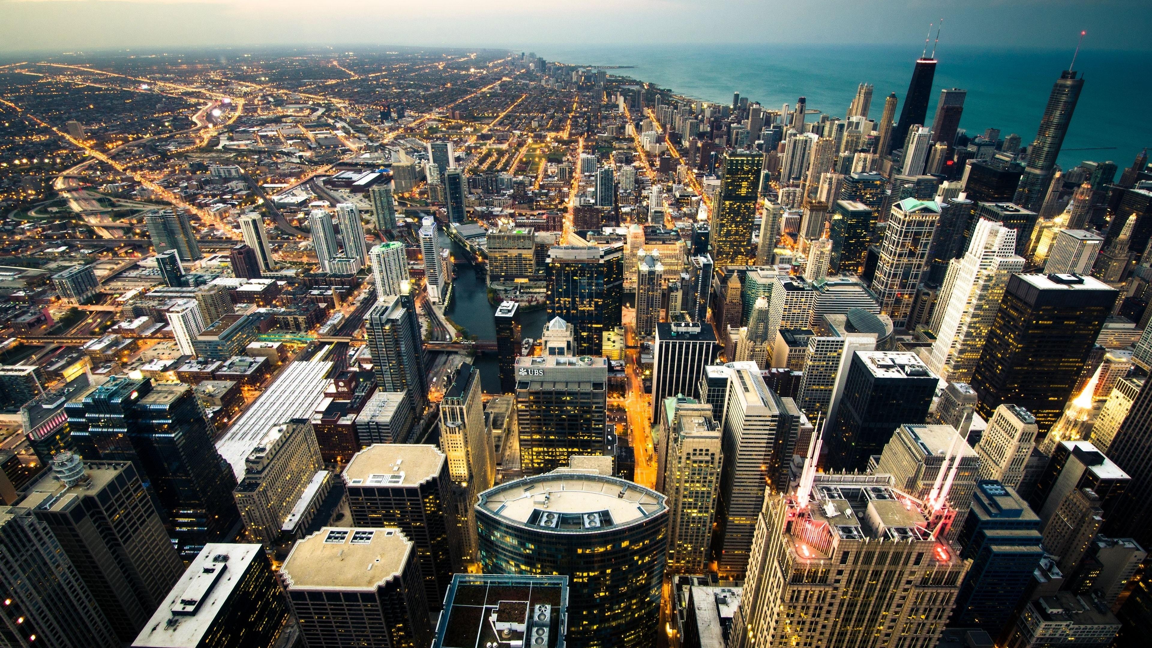 chicago skyline city lights coastline 4k 1538068197 - chicago, skyline, city lights, coastline 4k - Skyline, city lights, Chicago