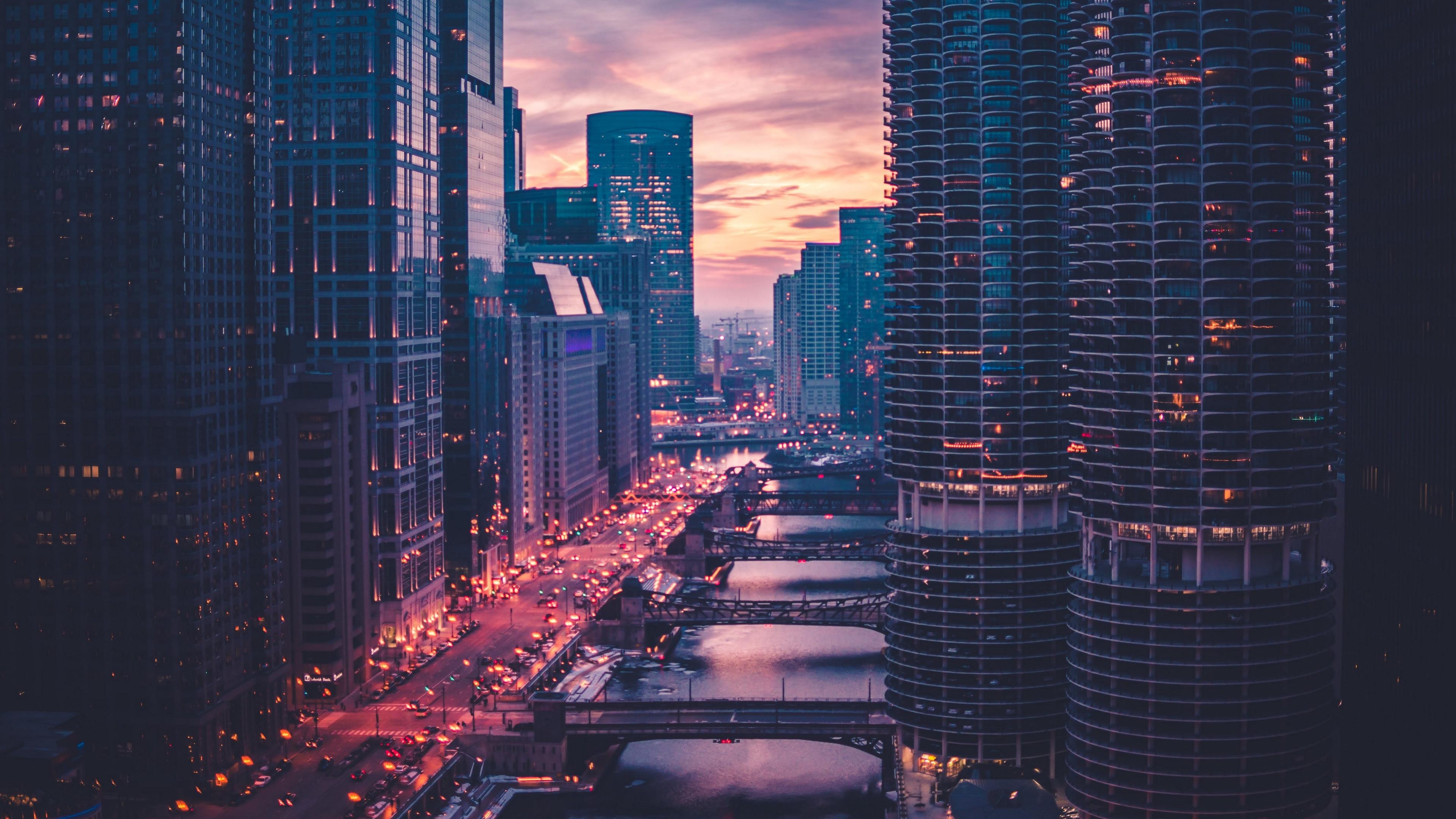 chicago skyscrapers bridges evening 4k 1538066307 - chicago, skyscrapers, bridges, evening 4k - Skyscrapers, Chicago, bridges