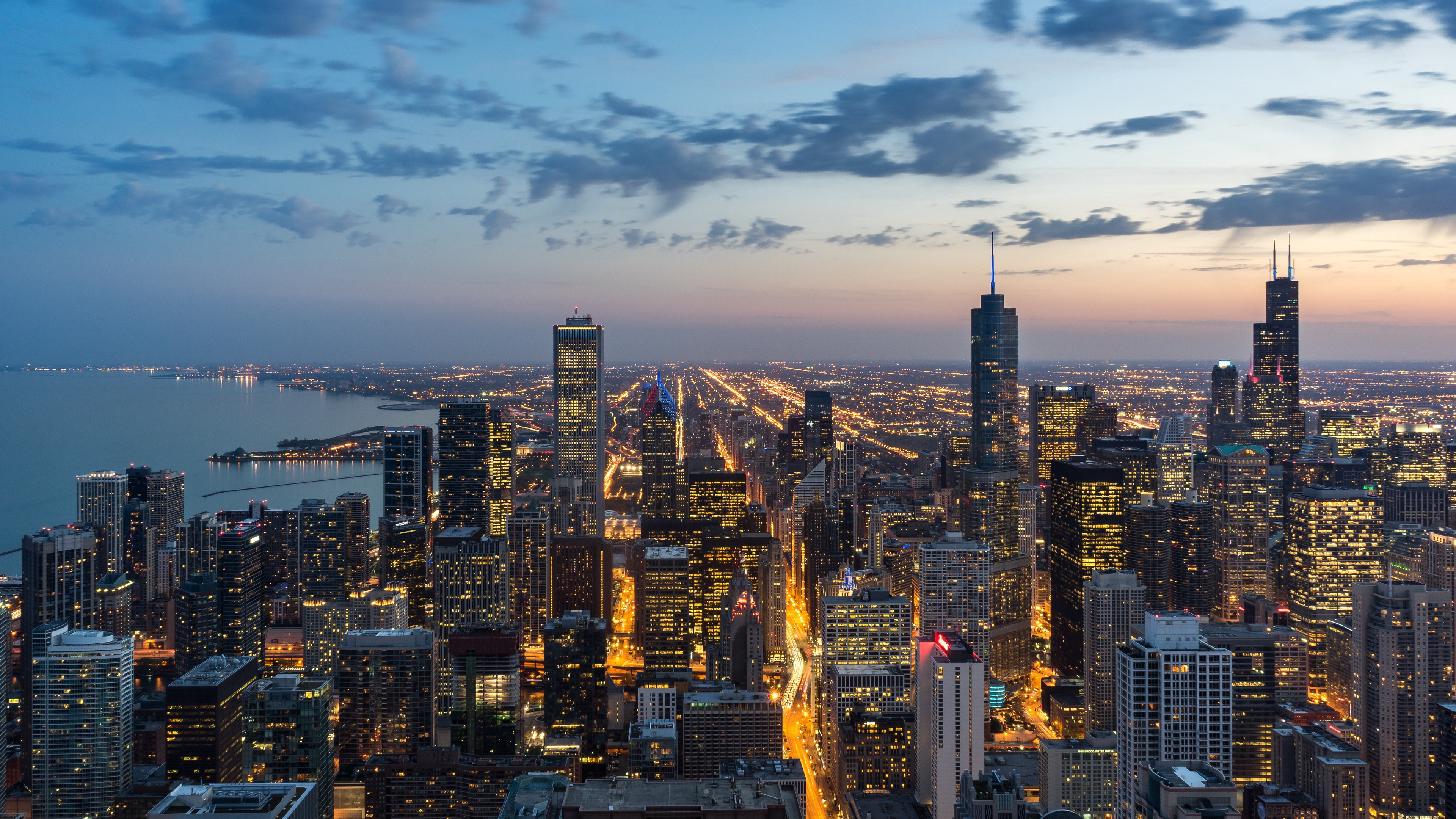 chicago usa skyscrapers night view from above 4k 1538068469 - chicago, usa, skyscrapers, night, view from above 4k - USA, Skyscrapers, Chicago