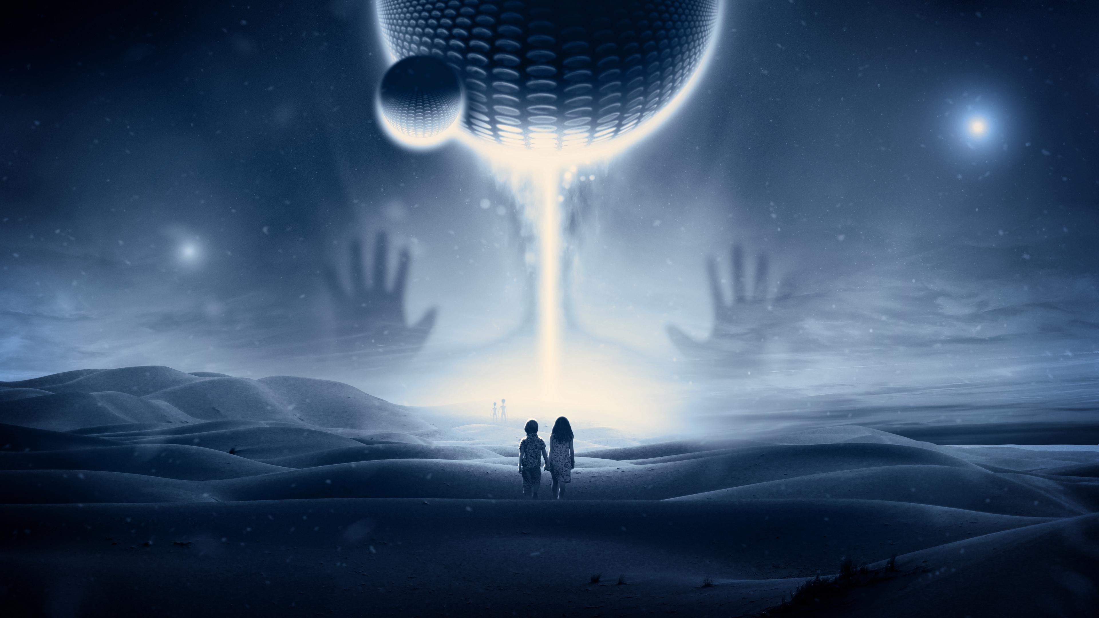 children ufo meeting extraterrestrials spaceship imagination fantasy space 4k 1536098111 - children, ufo, meeting, extraterrestrials, spaceship, imagination, fantasy, space 4k - UFO, meeting, Children
