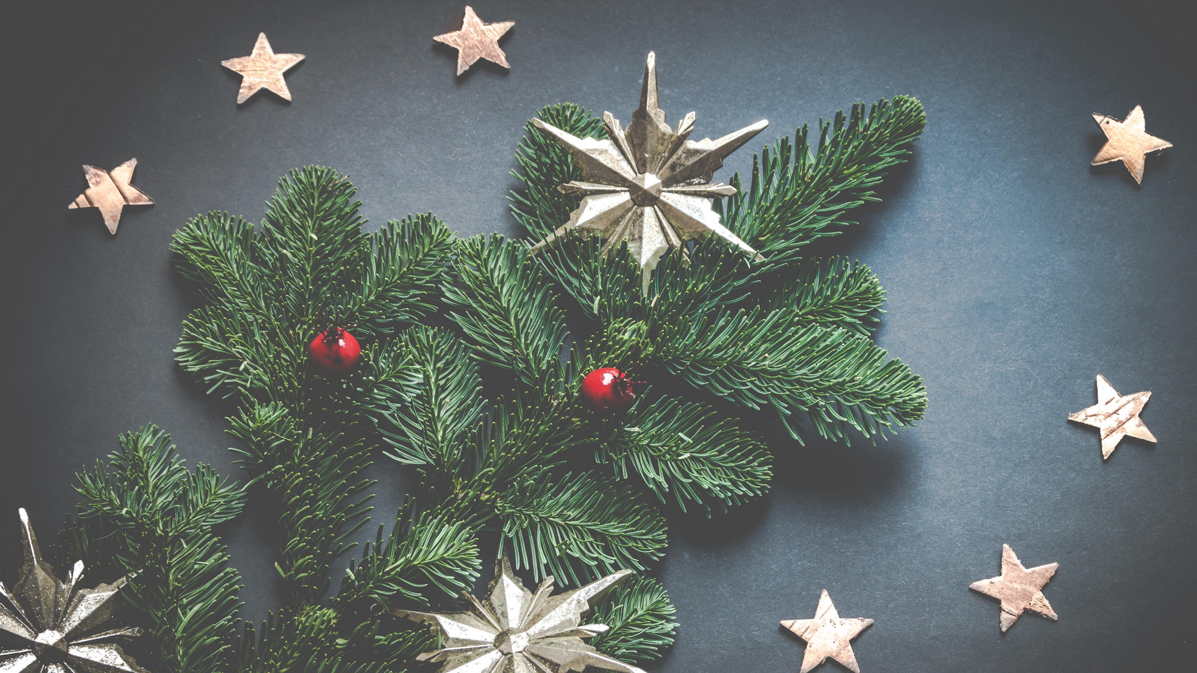 christmas decoration stars spruce 4k 1538345087 - christmas decoration, stars, spruce 4k - Stars, spruce, christmas decoration