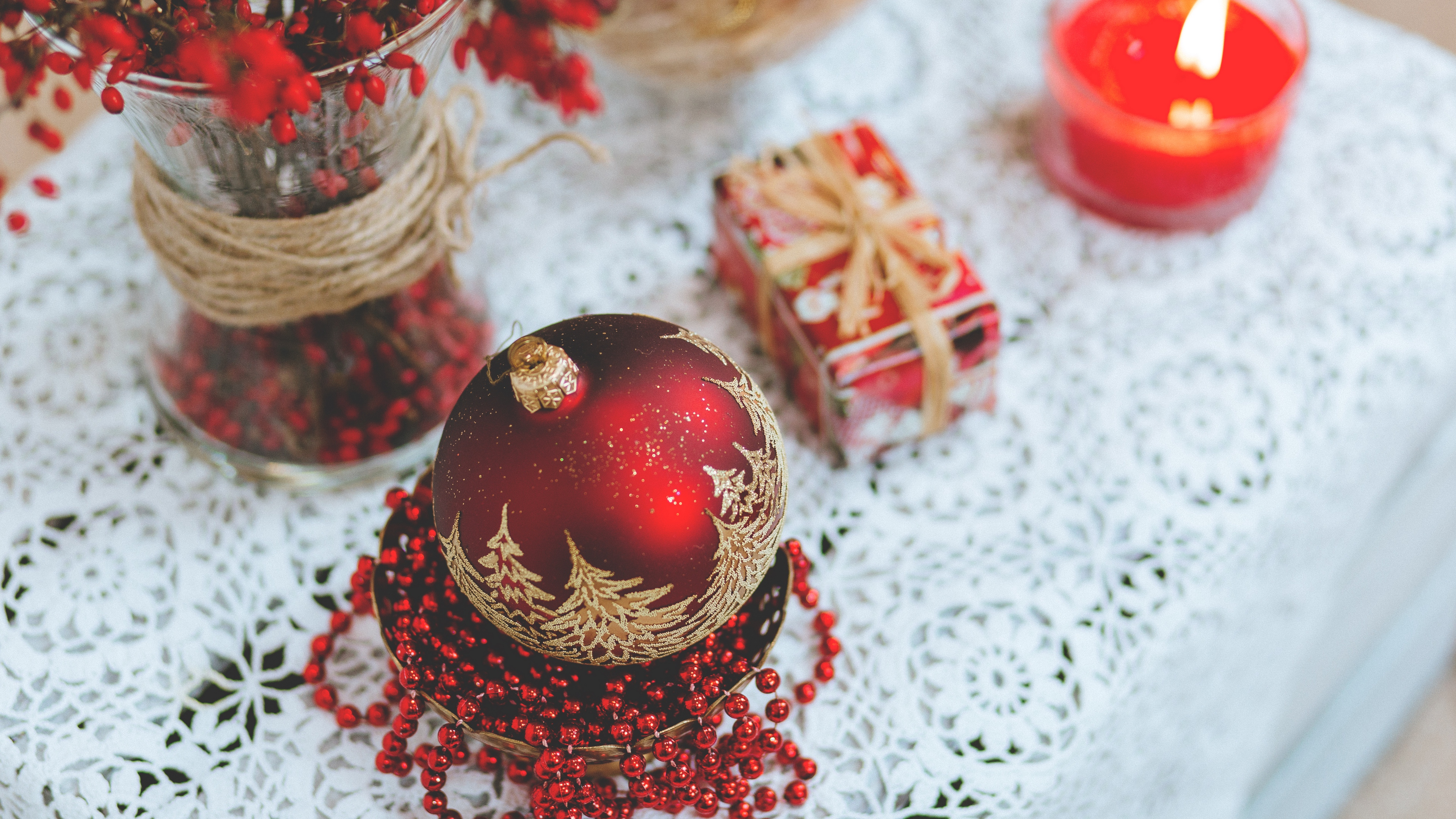 christmas decorations ball candle gift 4k 1538344548 - christmas decorations, ball, candle, gift 4k - christmas decorations, candle, Ball