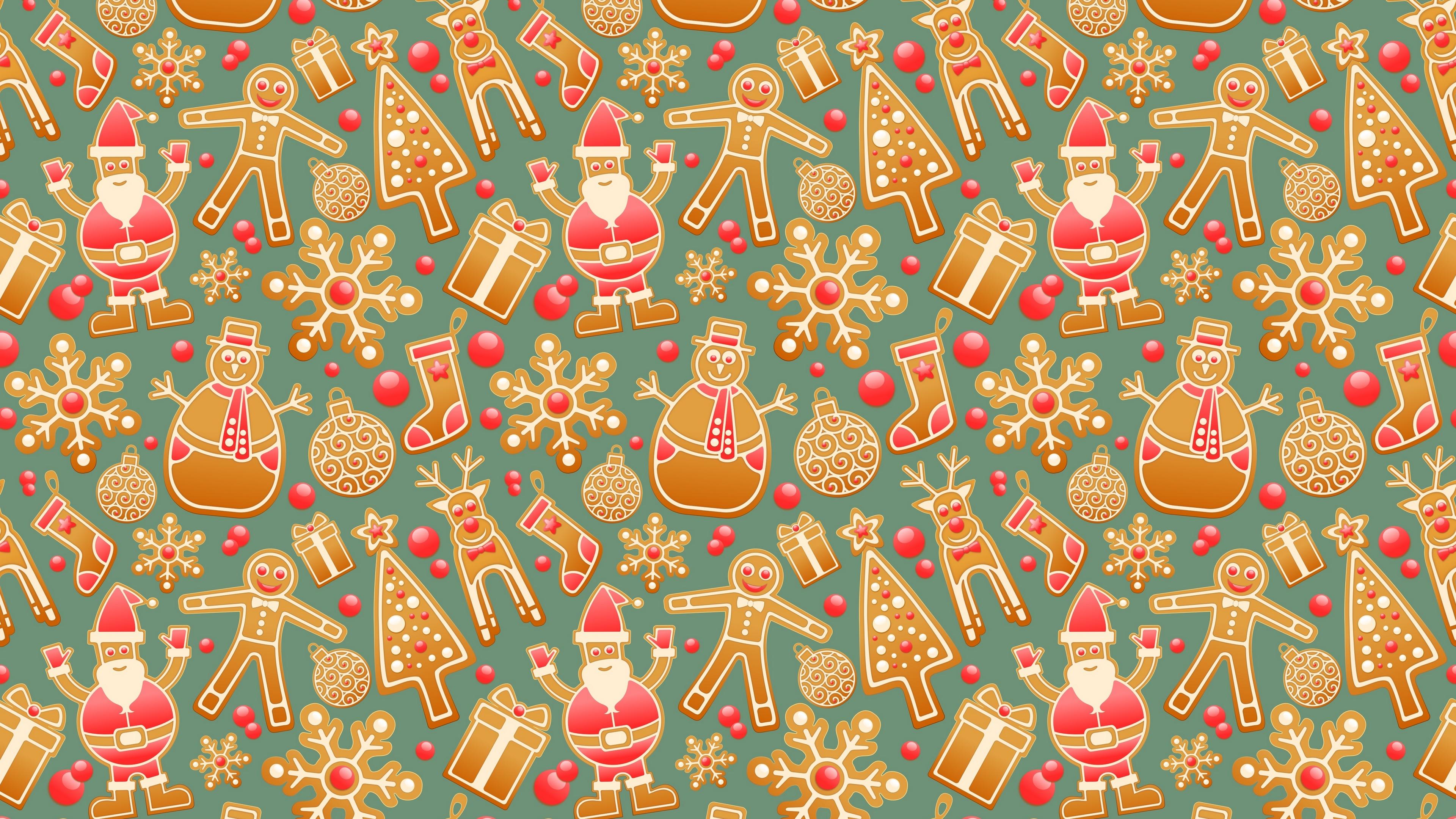 christmas new year gingerbread snowman santa claus 4k 1538345171 - christmas, new year, gingerbread, snowman, santa claus 4k - new year, gingerbread, Christmas
