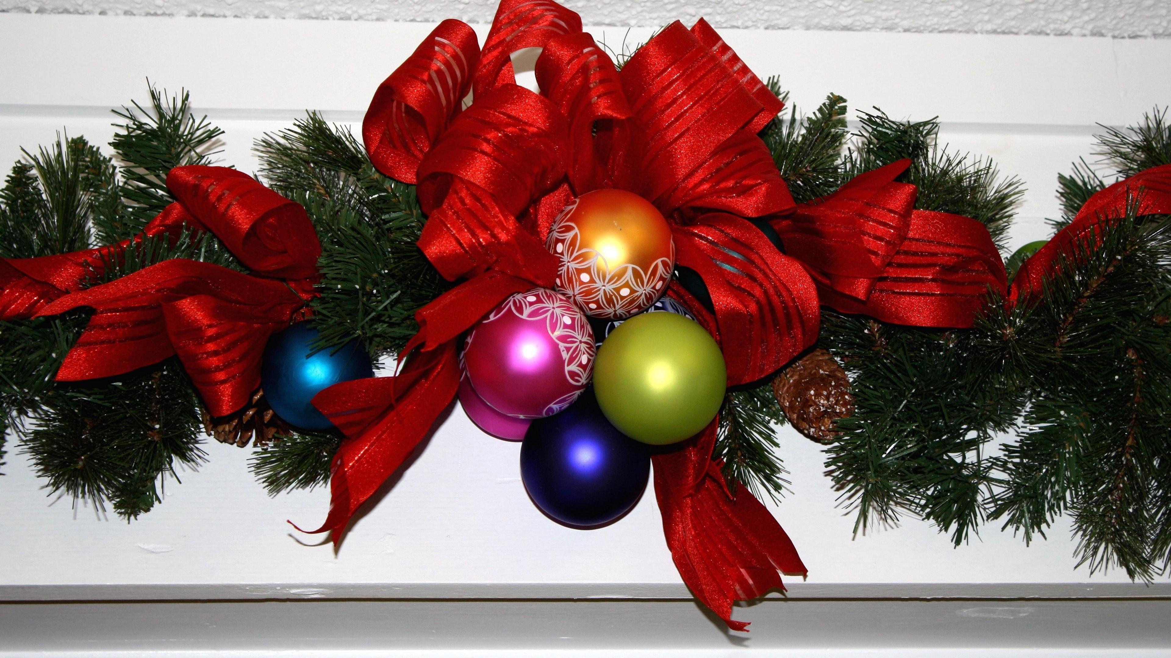 christmas new year needles christmas decorations ribbon decoration 4k 1538344624 - christmas, new year, needles, christmas decorations, ribbon, decoration 4k - new year, needles, Christmas