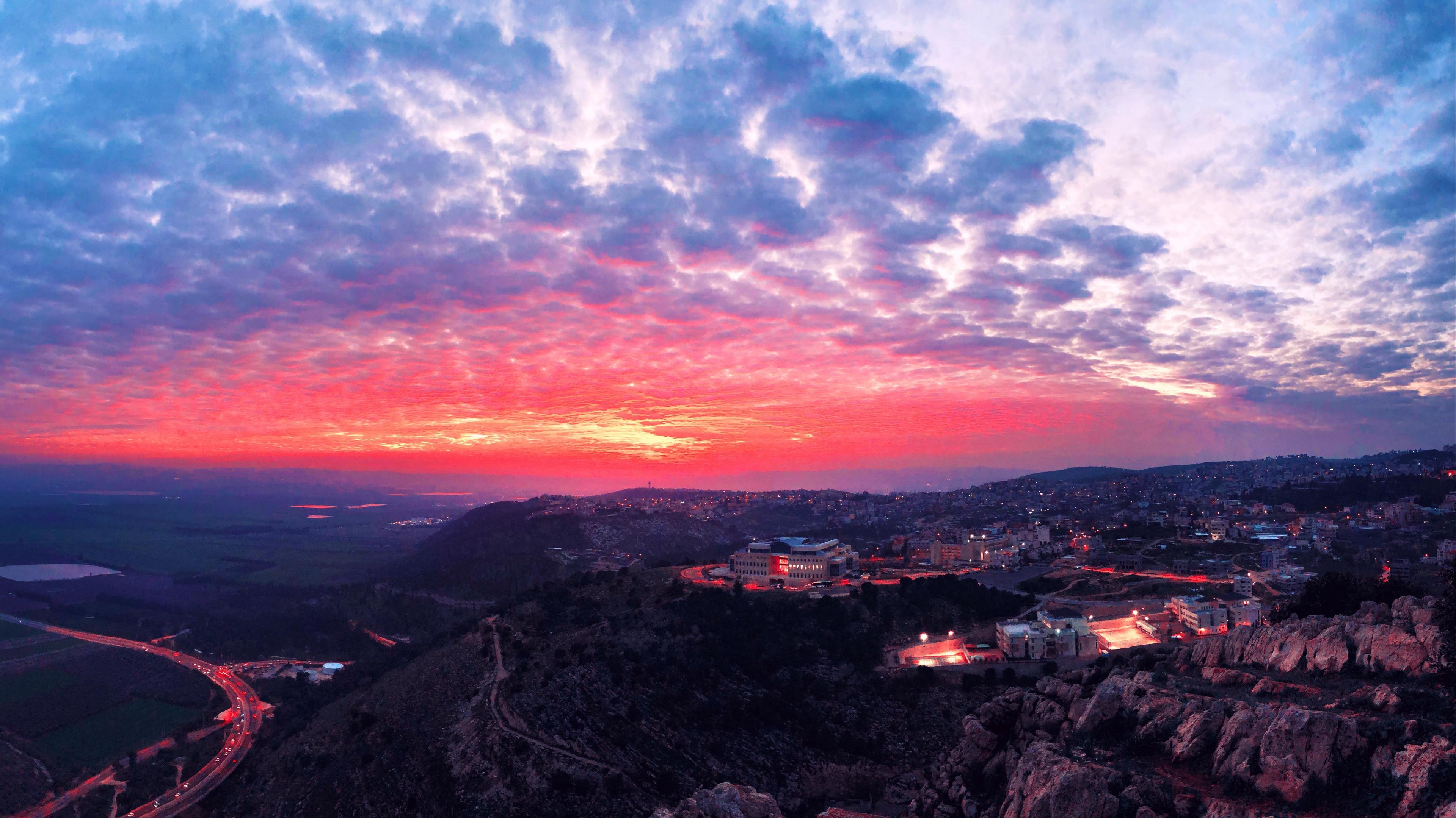 city evening sunset sky uplands 4k 1538068130 - city, evening, sunset, sky, uplands 4k - sunset, Evening, City