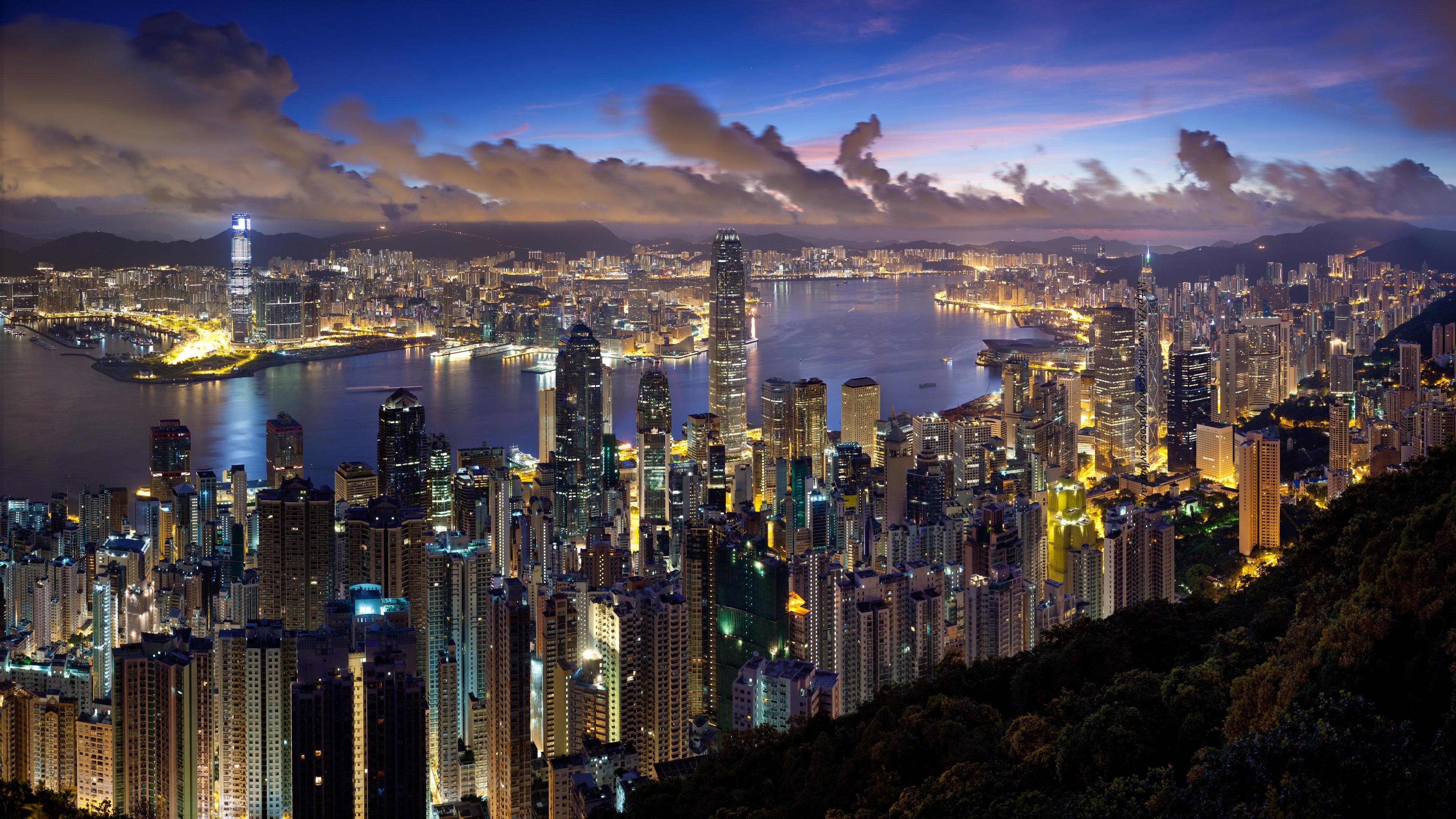 city hong kong night clouds lights 4k 1538068755 - city, hong kong, night, clouds, lights 4k - Night, hong kong, City