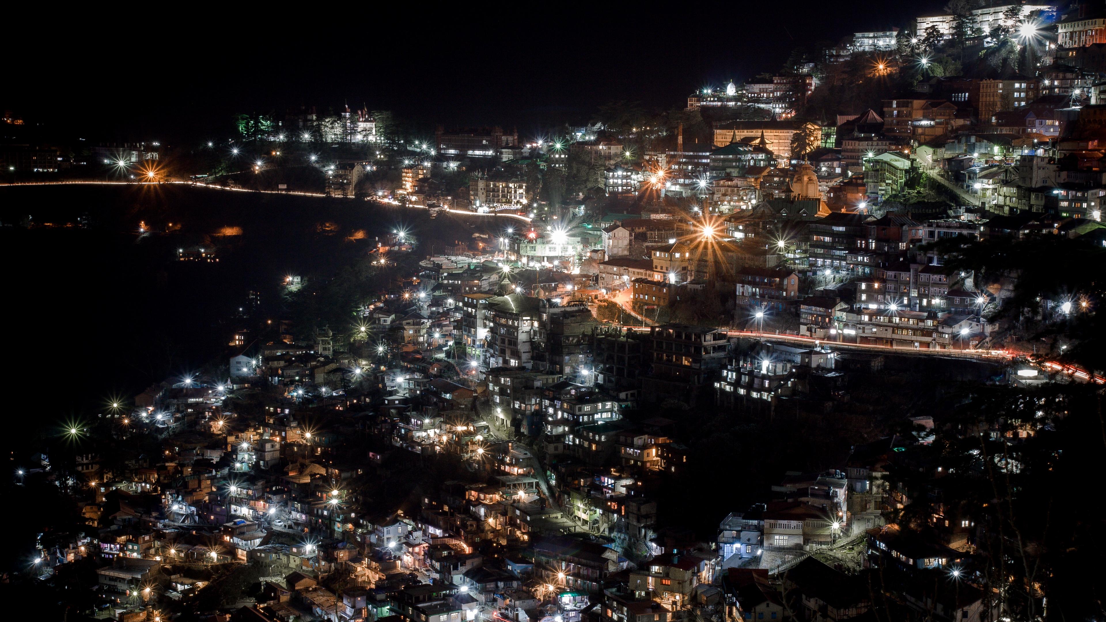city night city lights shimla manali india 4k 1538066685 - city, night, city lights, shimla manali, india 4k - Night, city lights, City