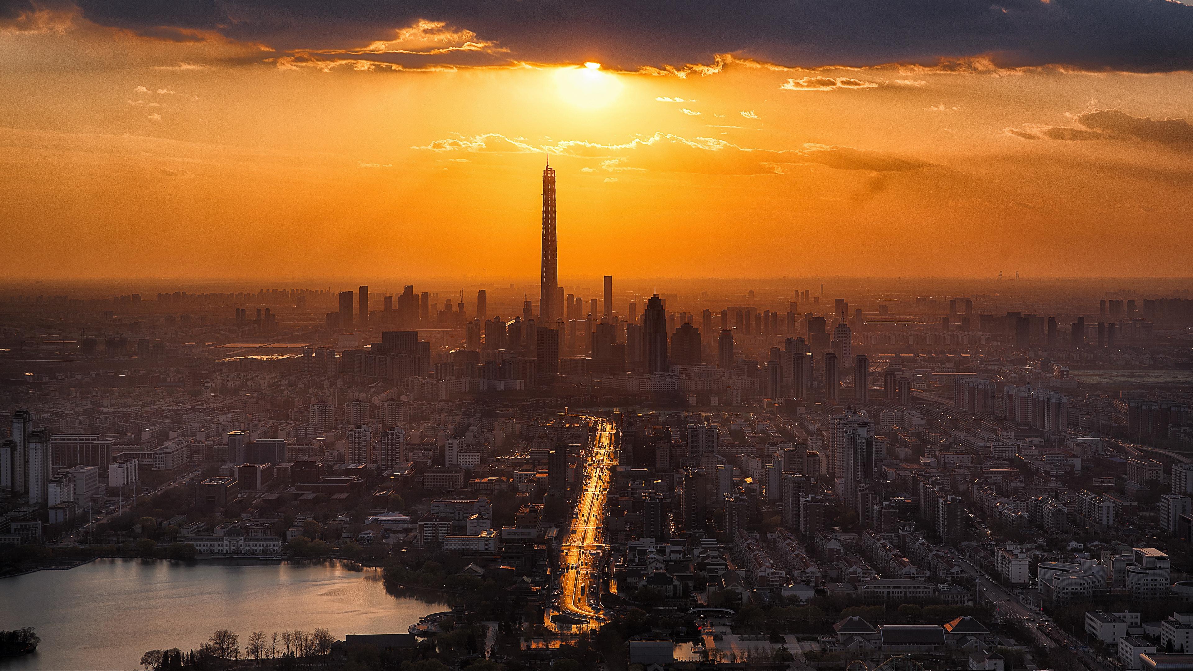 city sunset skyscrapers tianjin china 4k 1538066619 - city, sunset, skyscrapers, tianjin, china 4k - sunset, Skyscrapers, City