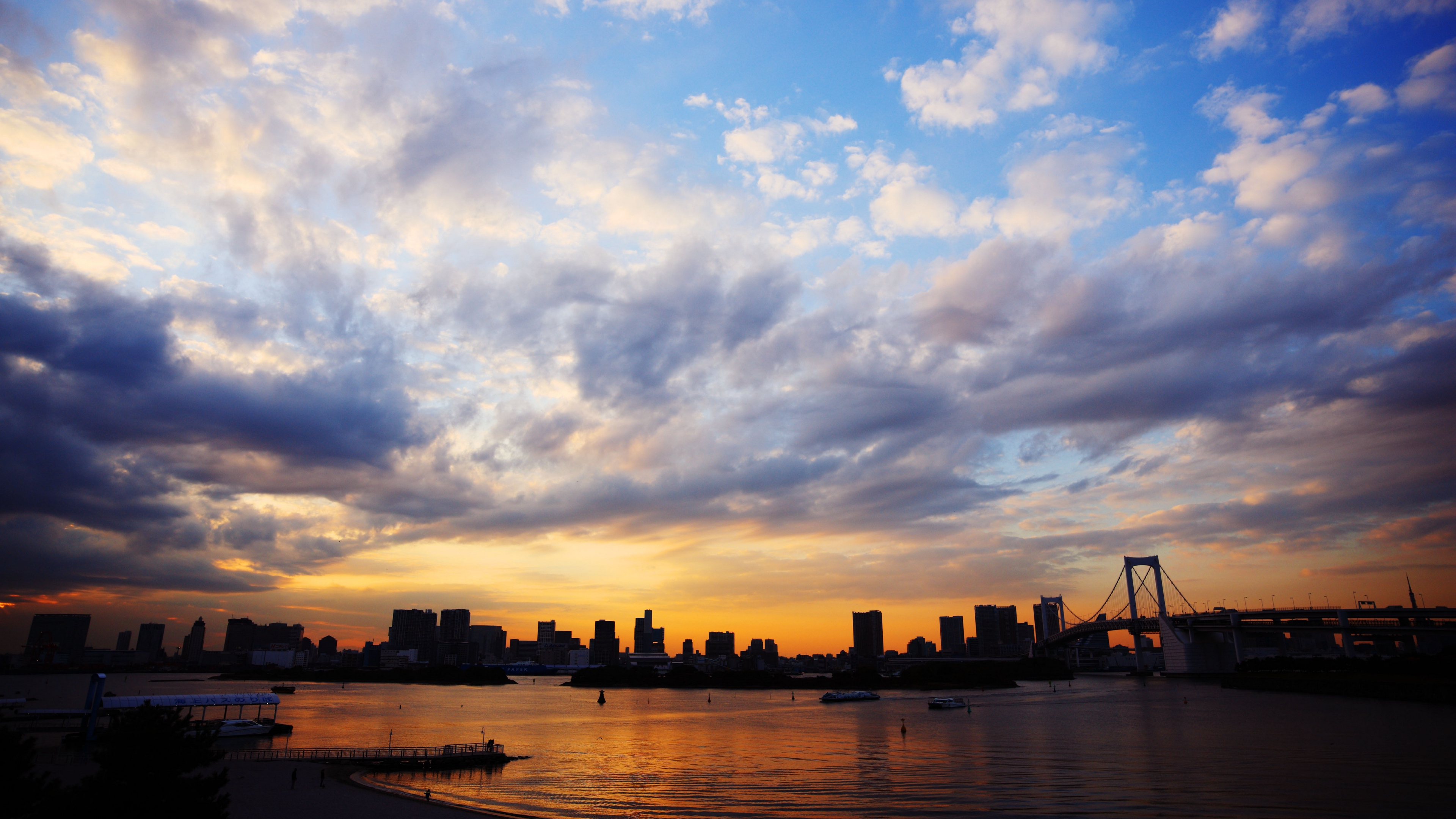 clouds sky sea tokyo japan blue city bridge sunset 4k 1538066481 - clouds, sky, sea, tokyo, japan, blue, city, bridge, sunset 4k - Sky, Sea, Clouds