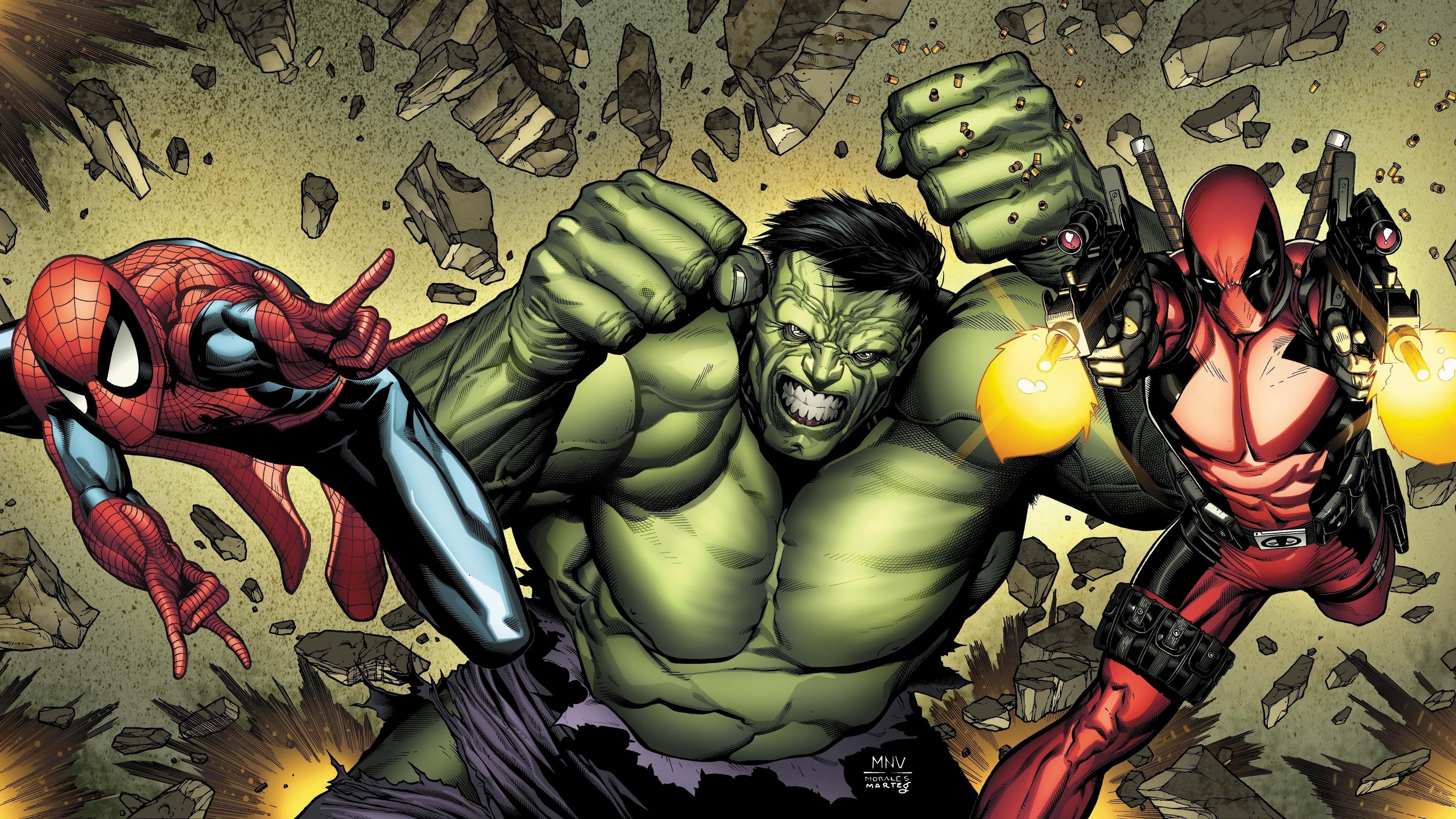 deadpool hulk spiderman art 1536522797 - Deadpool Hulk Spiderman Art - superheroes wallpapers, spiderman wallpapers, hulk wallpapers, hd-wallpapers, digital art wallpapers, deadpool wallpapers, artwork wallpapers, 5k wallpapers, 4k-wallpapers