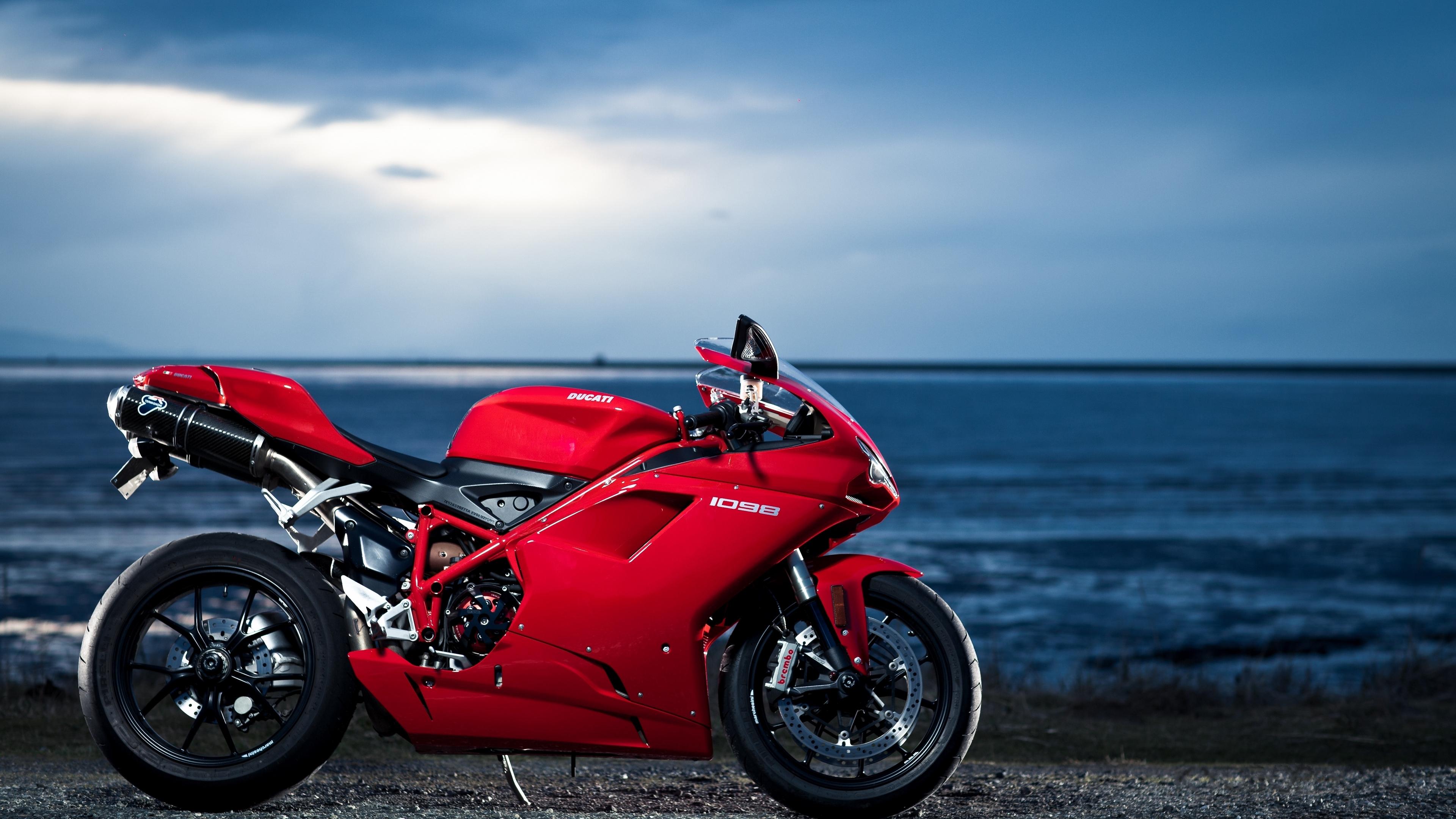 ducati 1098 motorcycle sea red 4k 1536018786 - ducati, 1098, motorcycle, sea, red 4k - Motorcycle, Ducati, 1098