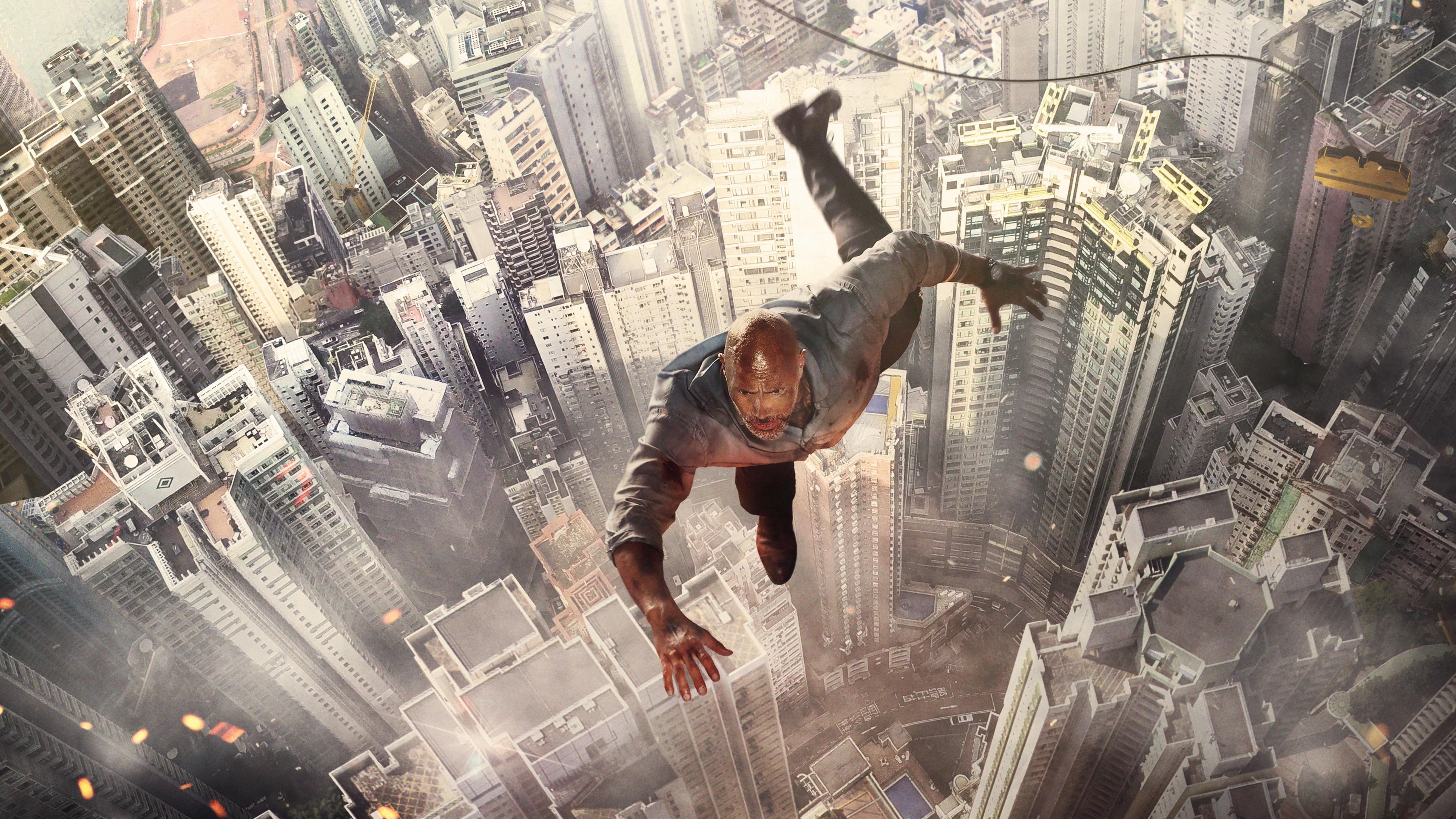 dwayne johnson jumping buildings 4k 1537645004 - Dwayne Johnson Jumping Buildings 4k - skyscraper movie wallpapers, movies wallpapers, hd-wallpapers, dwayne johnson wallpapers, 4k-wallpapers, 2018-movies-wallpapers