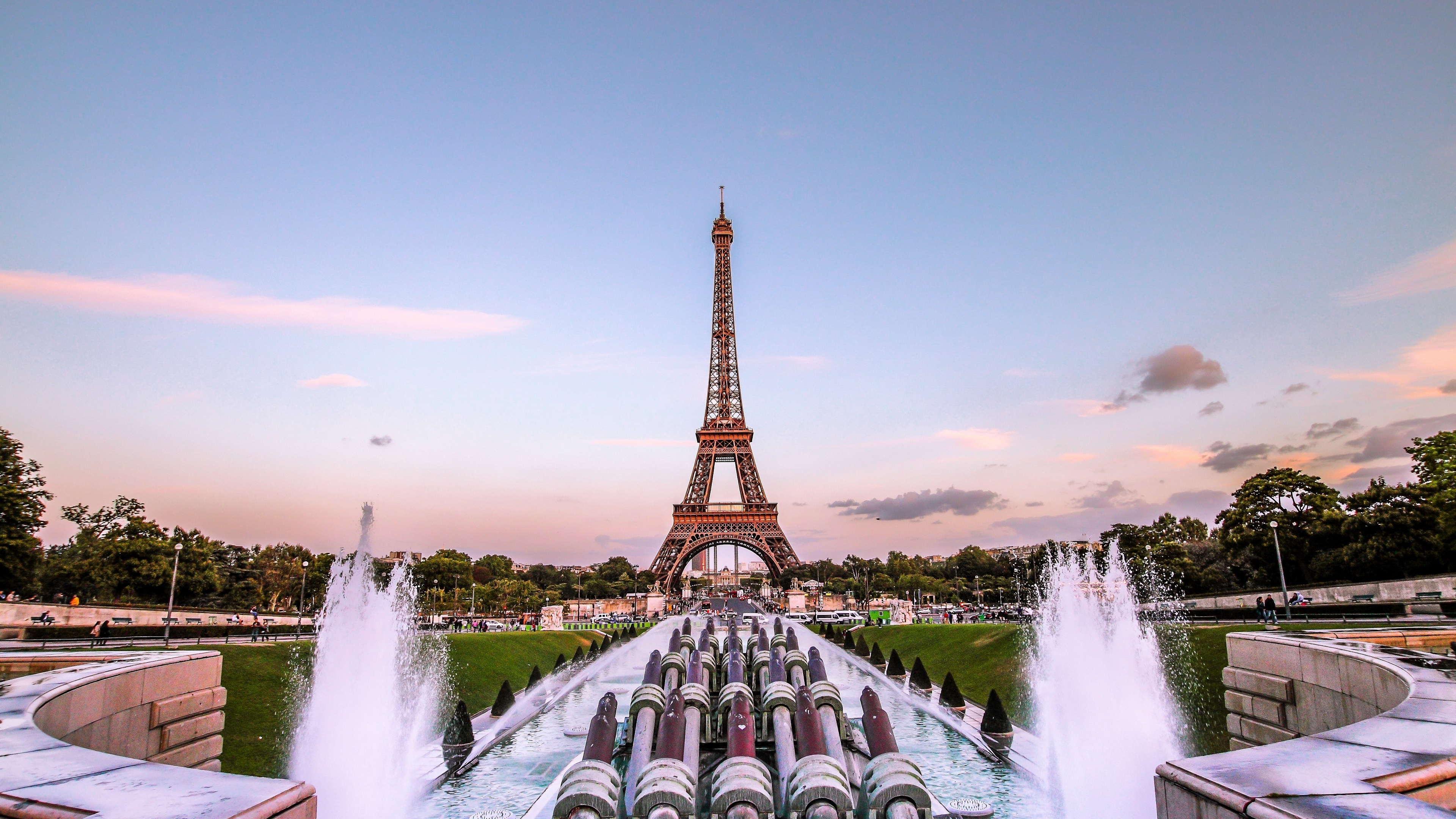 Wallpaper 4k Eiffel Tower Paris Gold Evening France Fountain 4k Eiffel Tower Gold Evening Paris